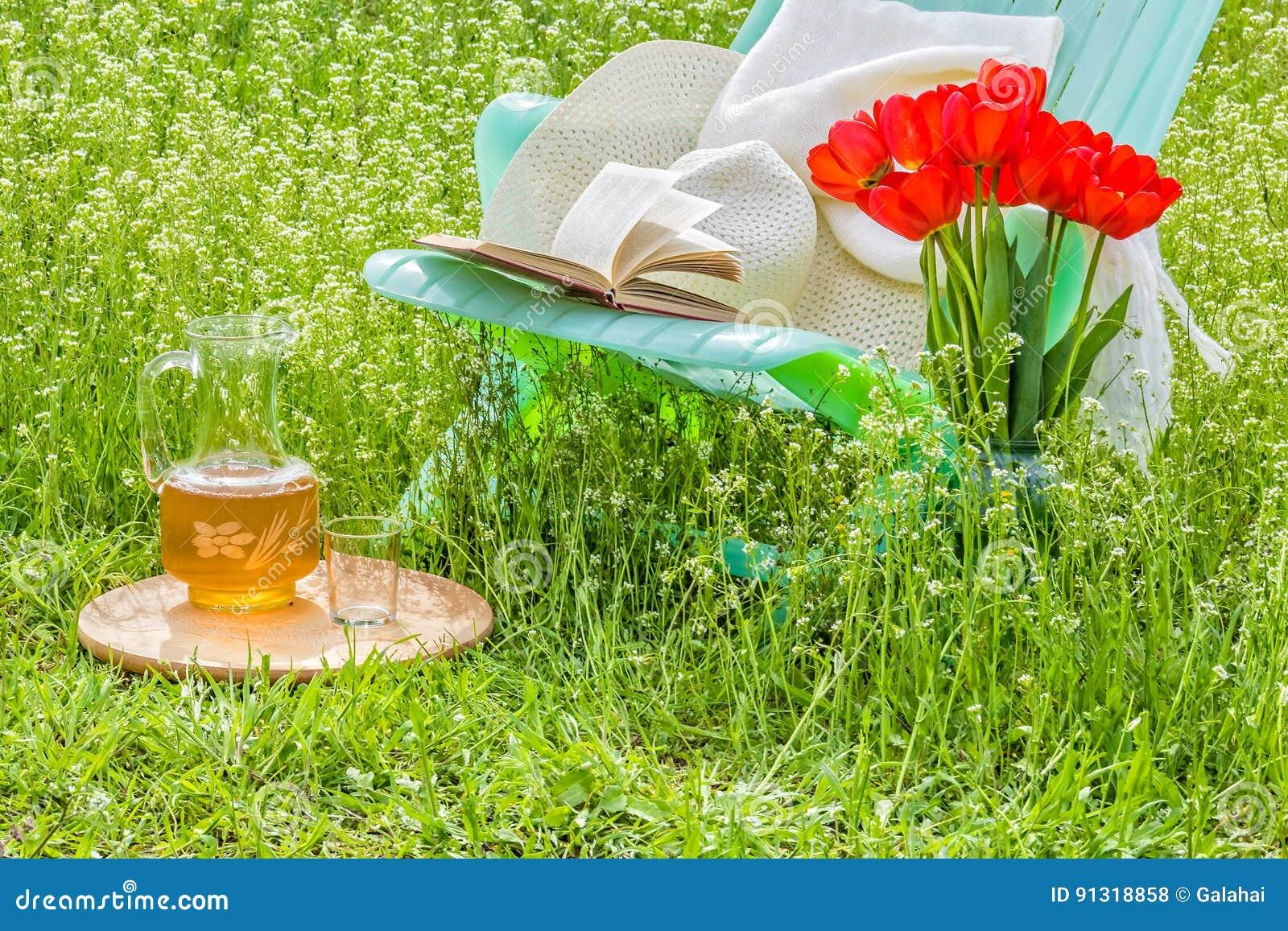 Χαλαρώστε στον ανθίζοντας κήπο μια ηλιόλουστη ημέρα