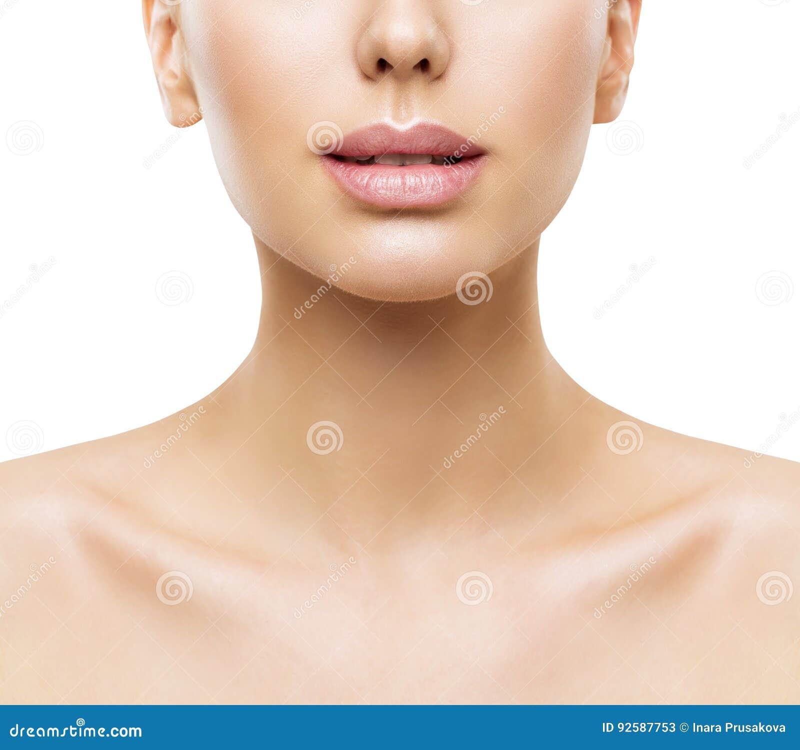 Χείλια, ομορφιά προσώπου γυναικών, στόμα και κινηματογράφηση σε πρώτο πλάνο δερμάτων λαιμών, δέρμα γυναικών