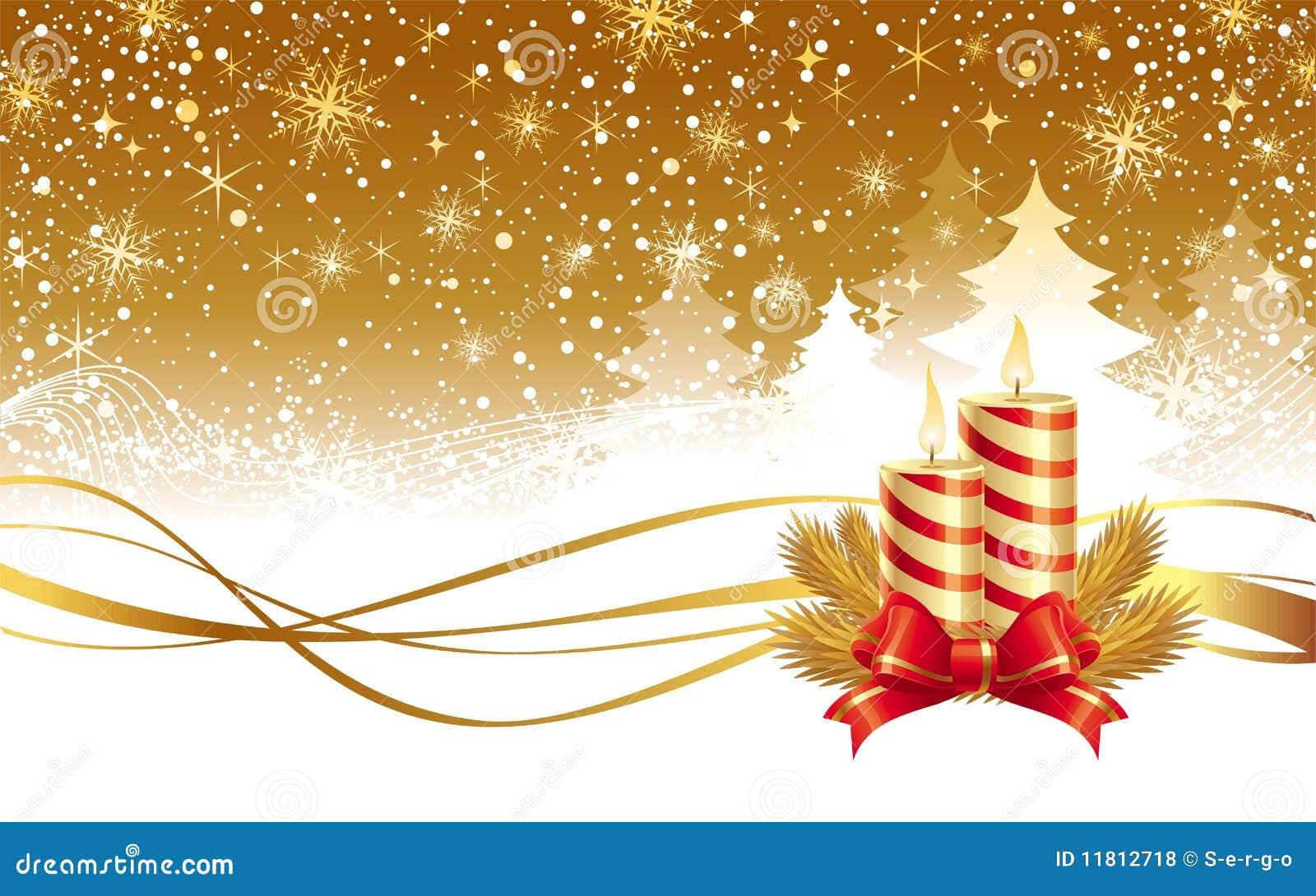 Χειμερινά τοπίο και κεριά Χριστουγέννων