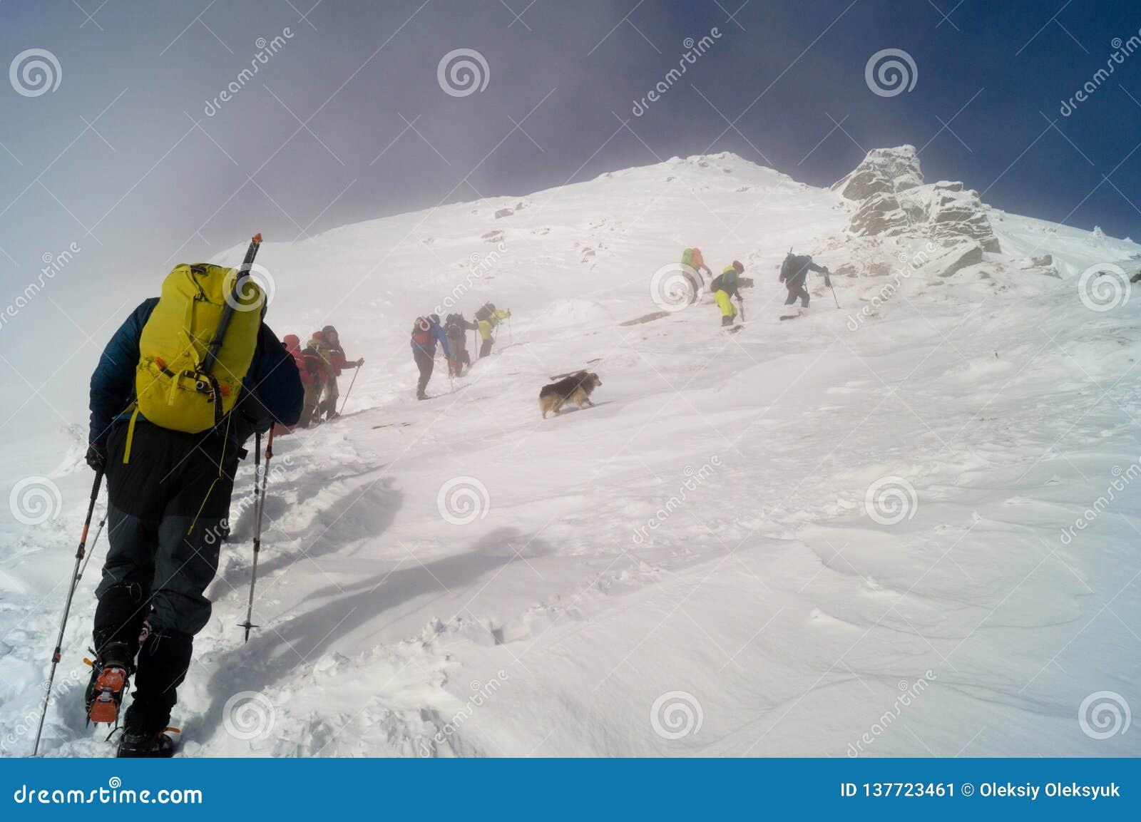 Χειμερινές περιπέτειες Στη σύνοδο κορυφής carpathians Ουκρανία