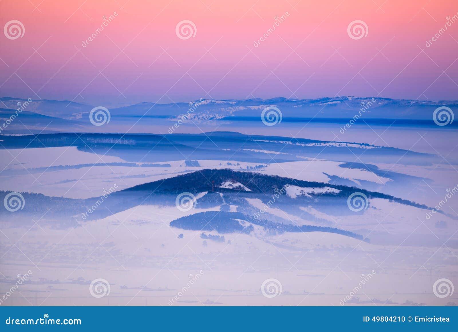 Χειμερινό ηλιοβασίλεμα, Ρουμανία