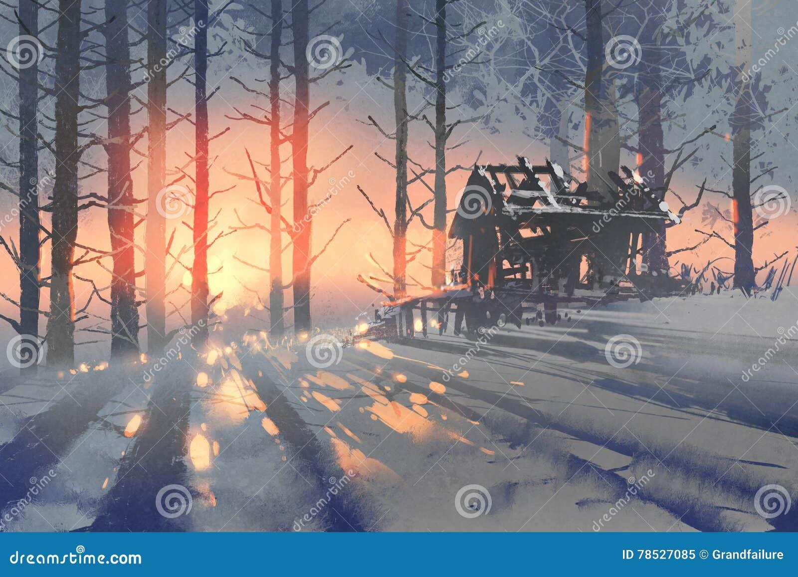 Χειμερινό τοπίο ενός εγκαταλειμμένου σπιτιού στο δάσος