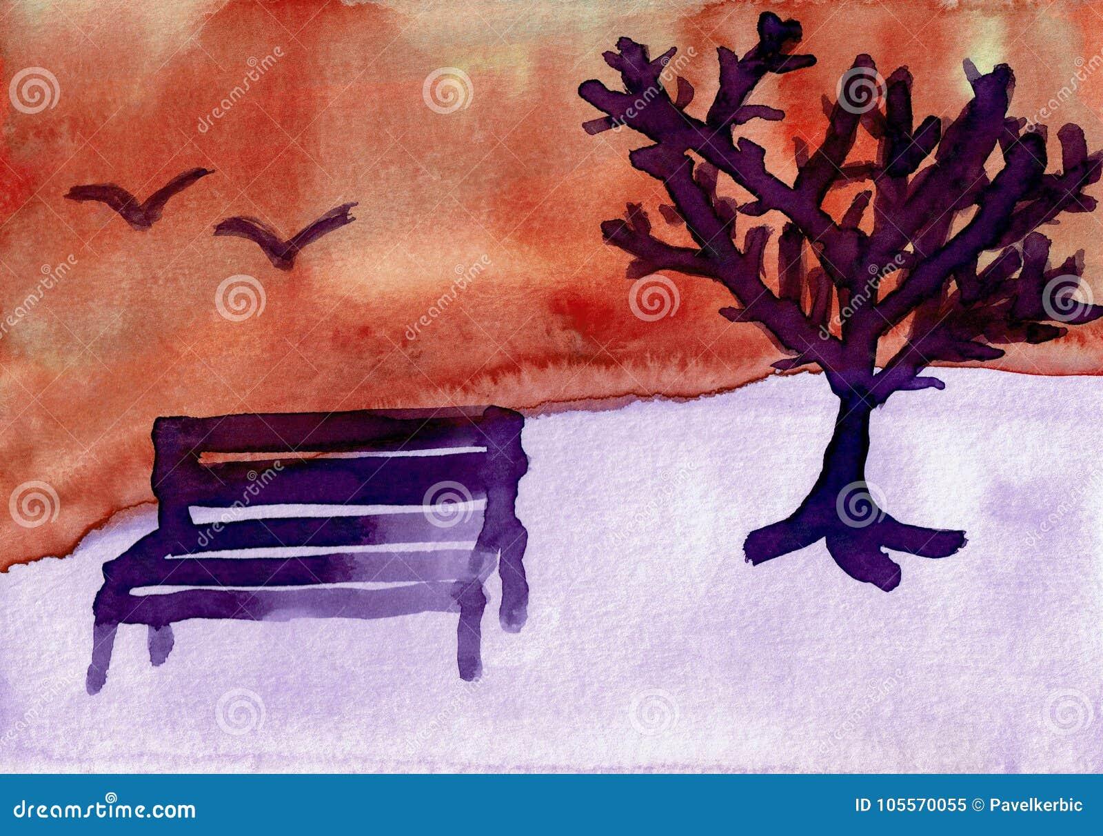 Χειμερινό τοπίο με ένα δέντρο και έναν πάγκο