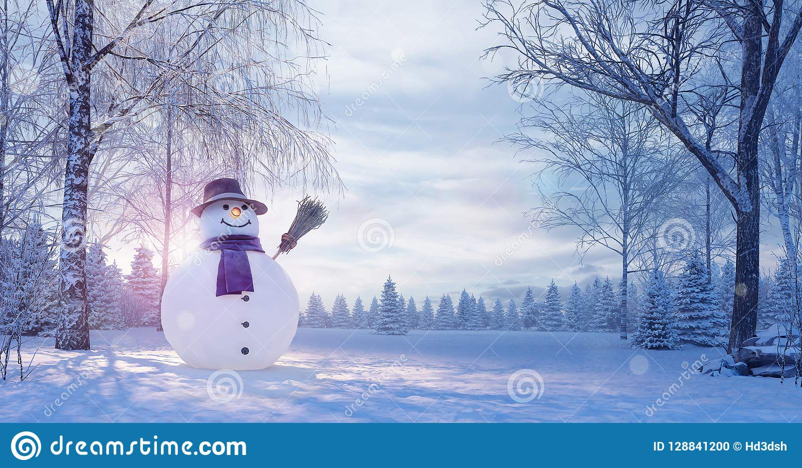 Χειμερινό τοπίο με το χιονάνθρωπο, υπόβαθρο Χριστουγέννων