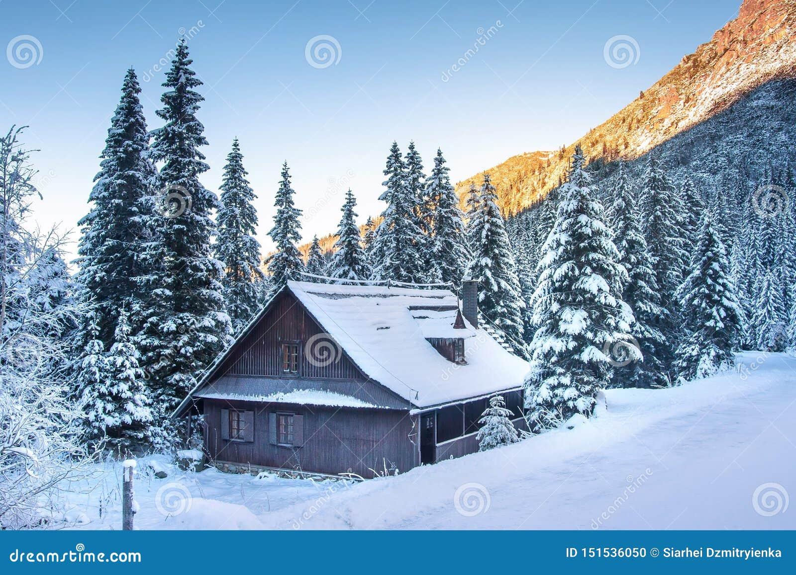 Χειμώνας : Παγωμένο τοπίο βουνών Όμορφη χειμερινή σκηνή με το ξύλινο σπίτι στα βουνά Tatra