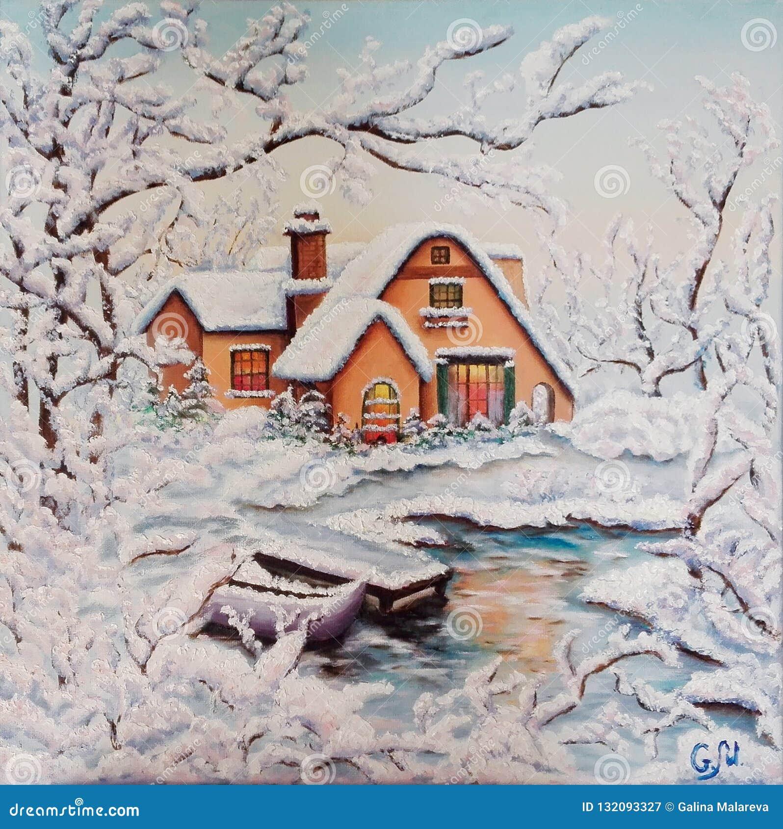 Χειμώνας Σπίτι από τον ποταμό στο χιόνι καλυμμένα δέντρα χιονιού Βάρκα στον παγωμένο ποταμό Πετρέλαιο στον καμβά