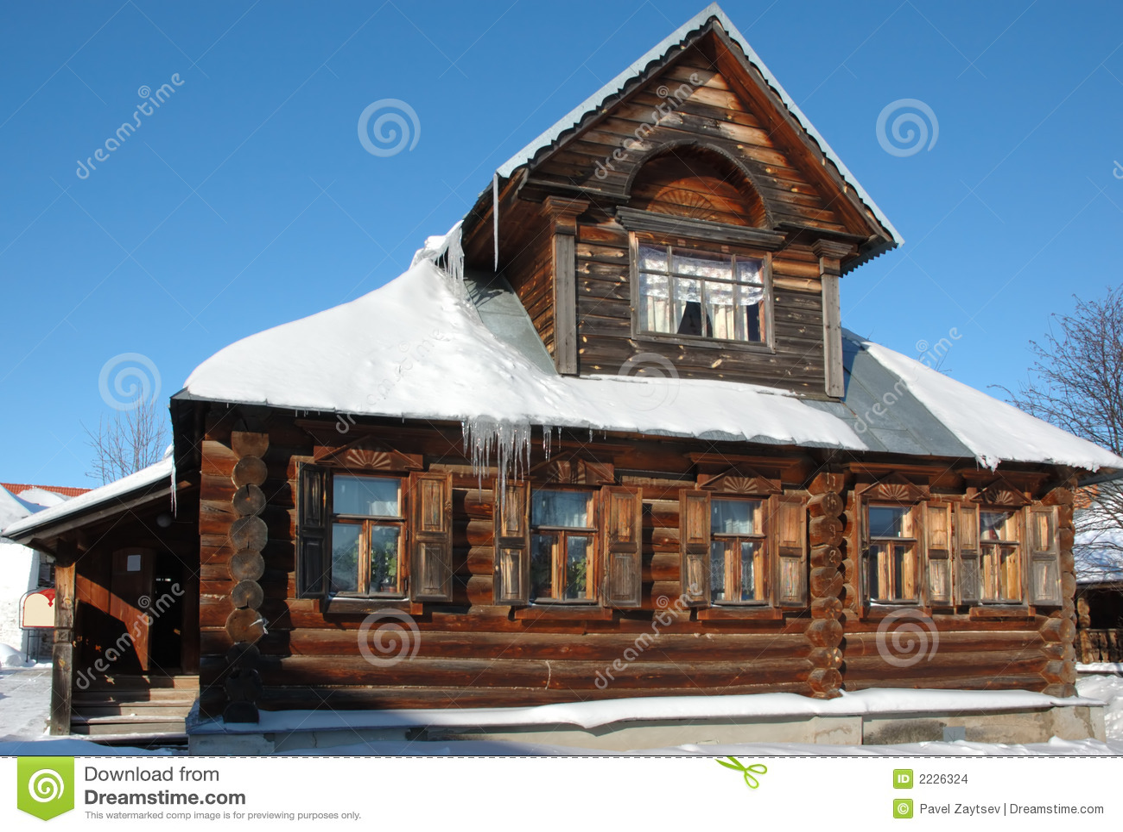 χειμώνας σπιτιών ξύλινος