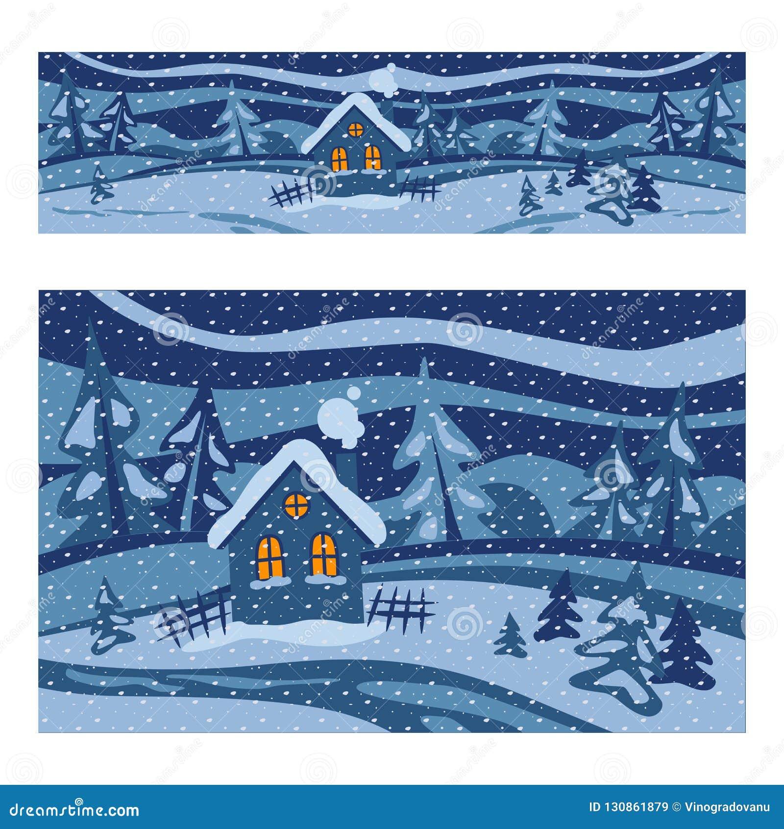 χειμώνας τοπίων σπιτιών απεικόνιση Χειμερινή ιστορία