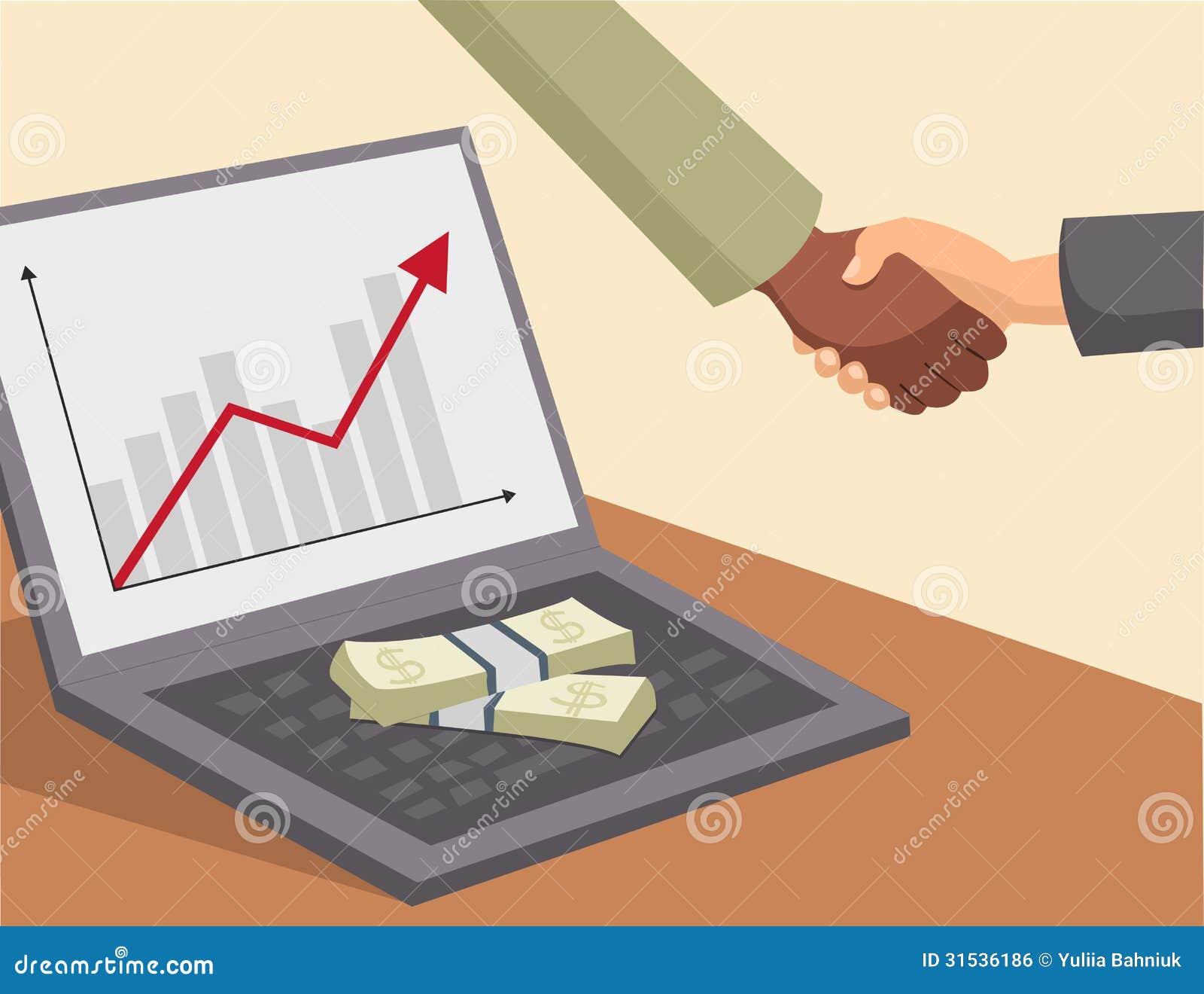 Χειραψία και χρήματα στο lap-top