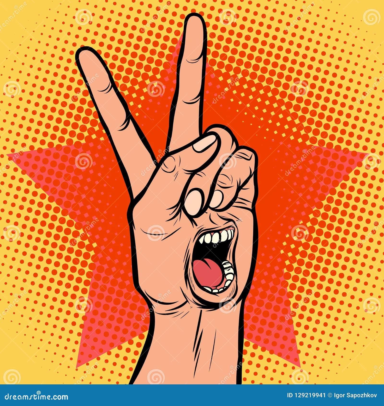 Χειρονομία νίκης χεριών στοματικής συγκίνησης απόλαυσης κραυγής