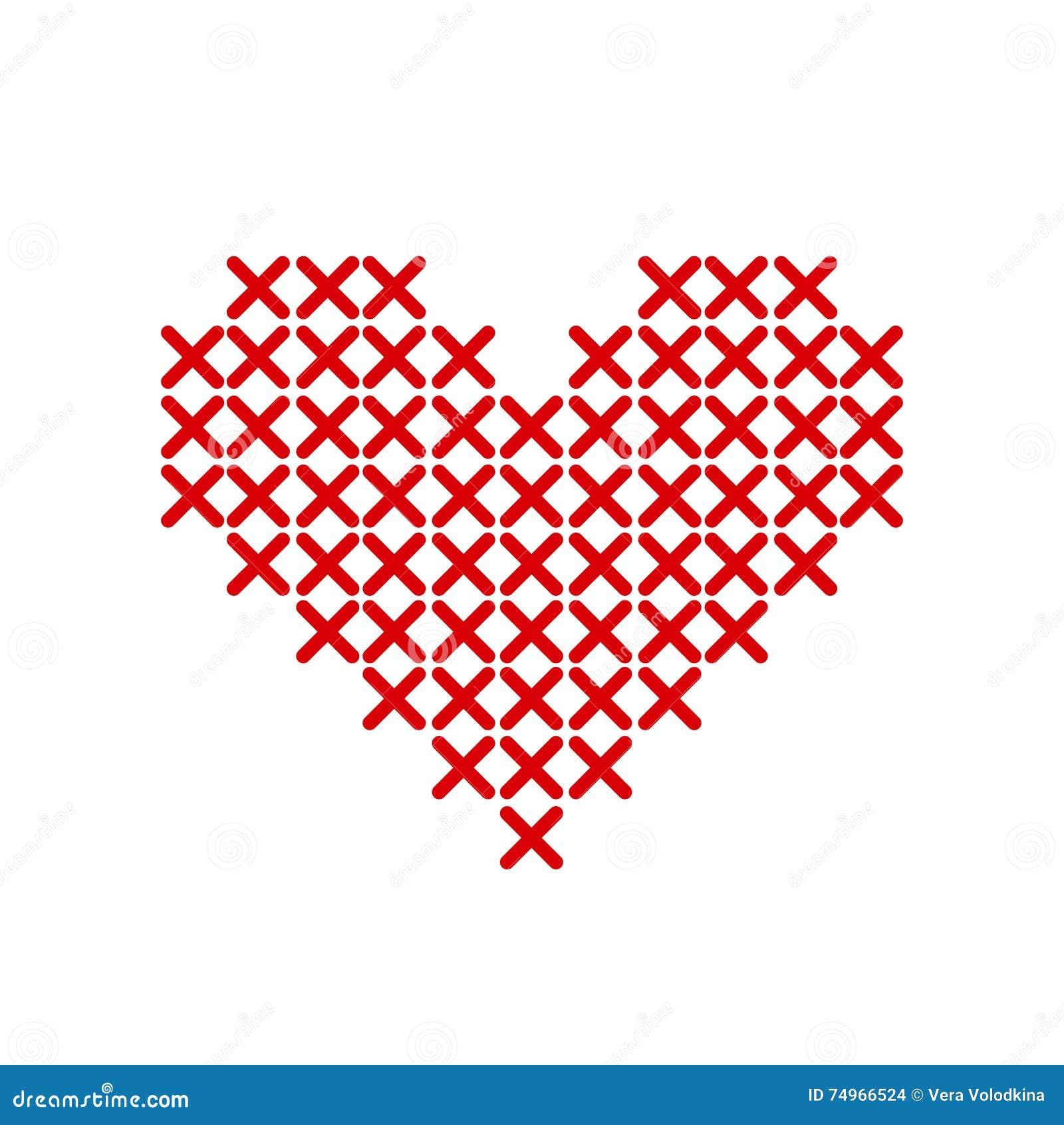 Χειροποίητη κόκκινη καρδιά που κεντιέται με έναν σταυρό Διανυσματική ... c04f5233b90