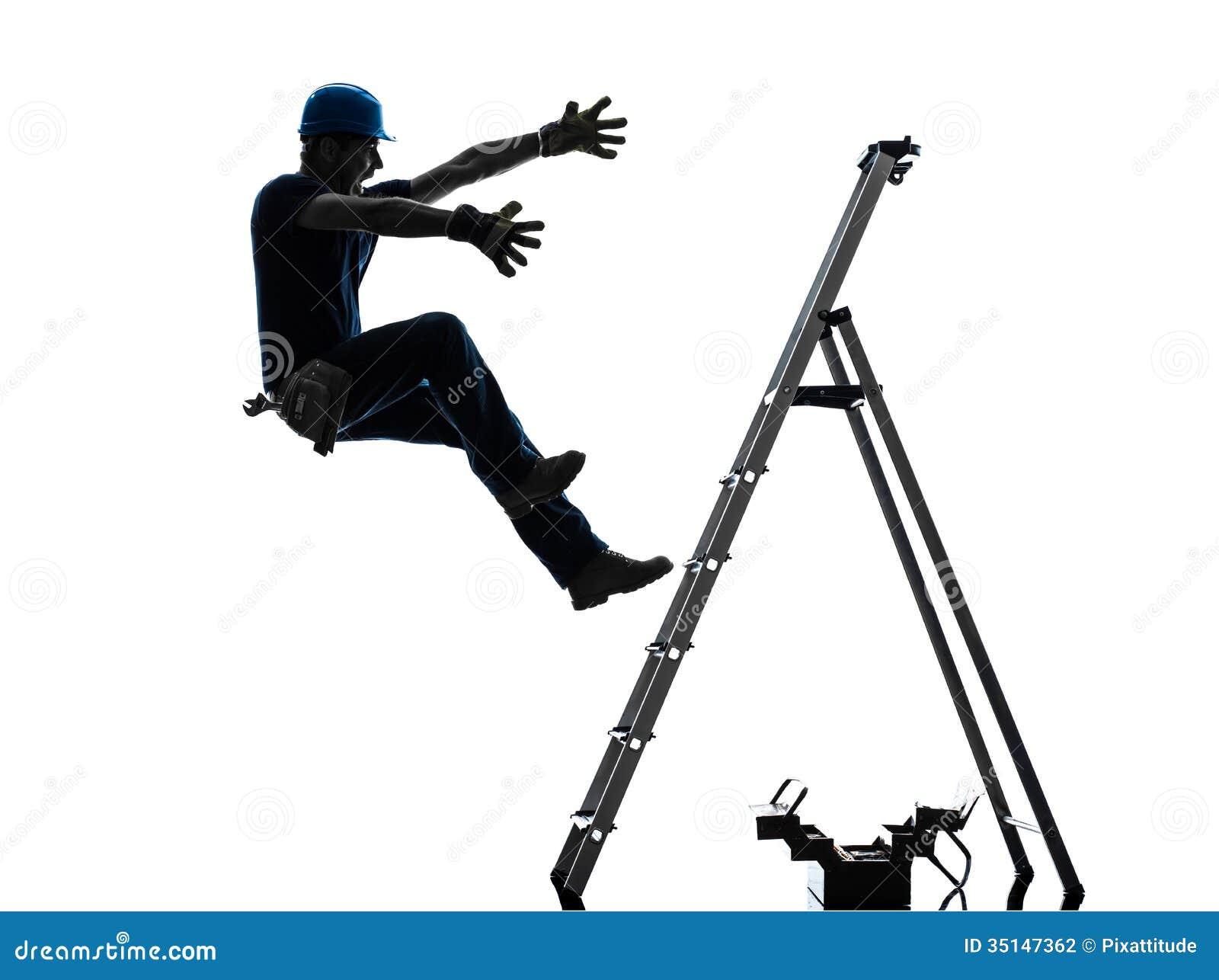 Χειρωνακτικό άτομο εργαζομένων που πέφτει από τη σκιαγραφία σκαλών