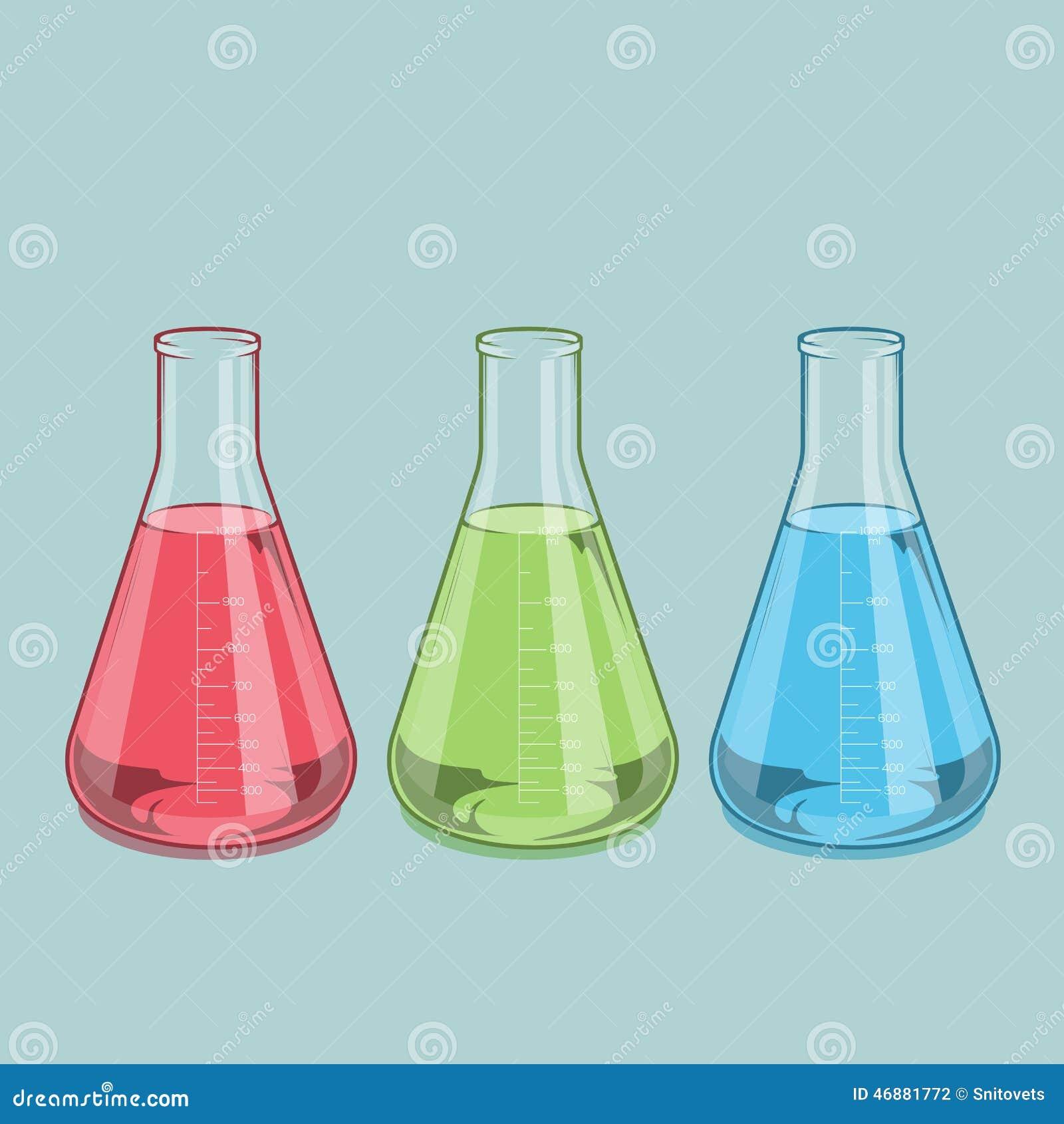 Χημικά γυαλικά που απομονώνονται εργαστηριακά Κόκκινο, πράσινο και μπλε υγρό Erlenmeyer φιάλη 1000ml Τέχνη χρωματισμένων γραμμών