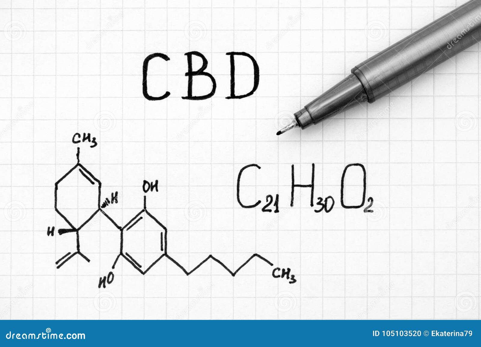 Χημικός τύπος Cannabidiol CBD με τη μαύρη μάνδρα