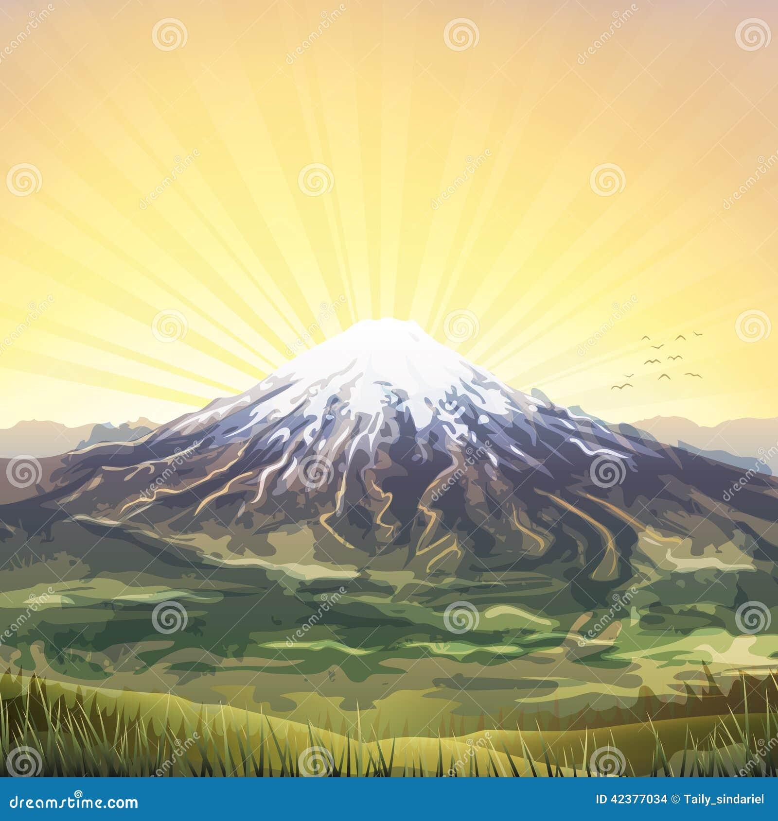 Χιονισμένο νεφελώδες μέγιστο τοπίο βουνών