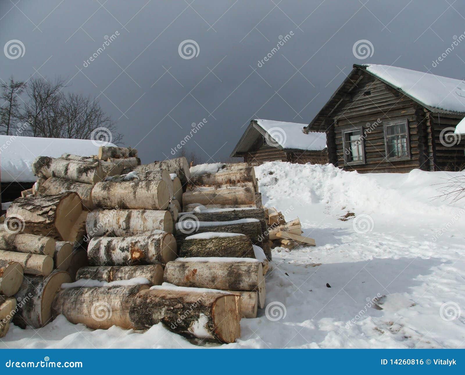 χιονώδης του χωριού χειμώ