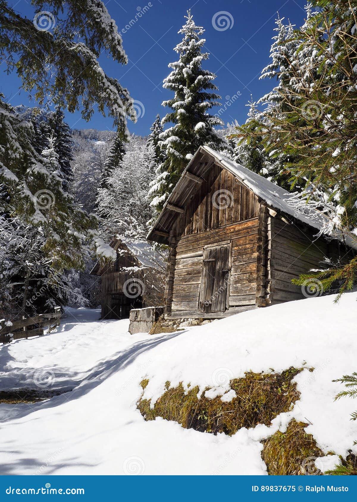 Χιονώδης αλπική ξύλινη καλύβα