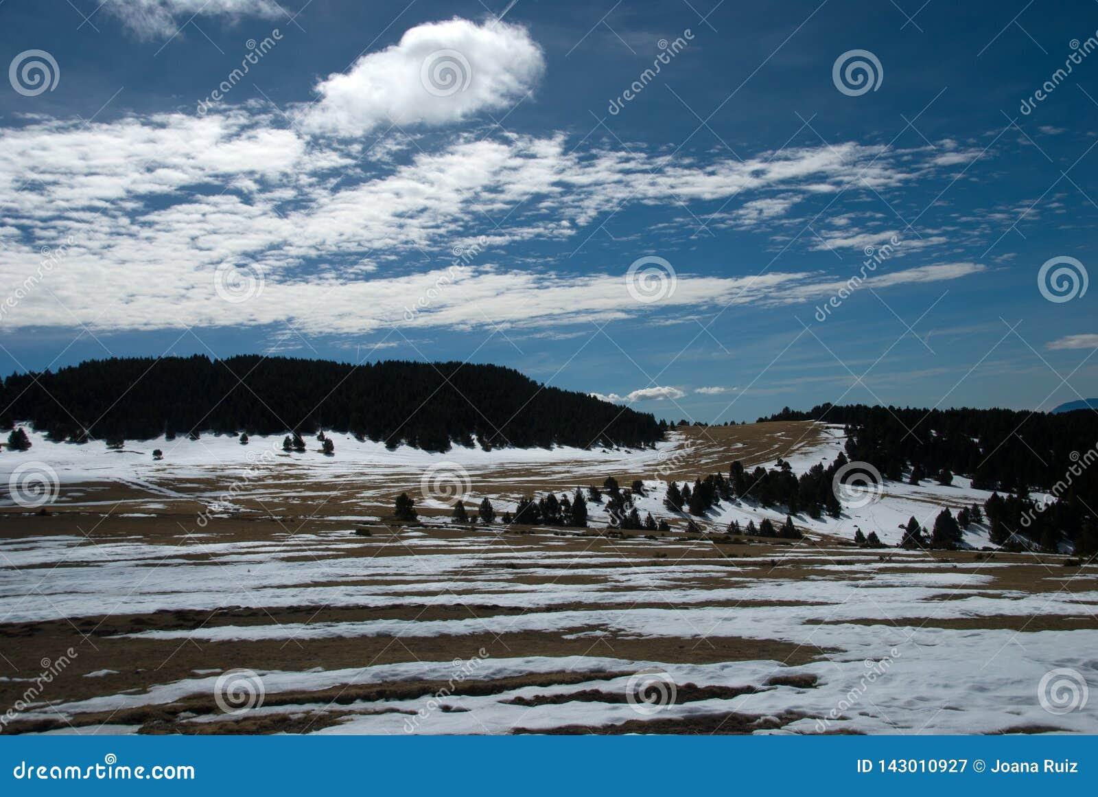 Χιόνι που λειώνει στις ανώμαλες να κάνει σκι διαδρομές
