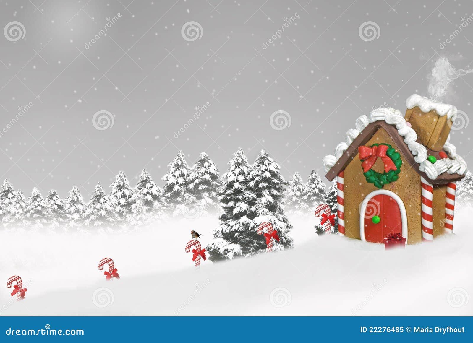 χιόνι σπιτιών μελοψωμάτων