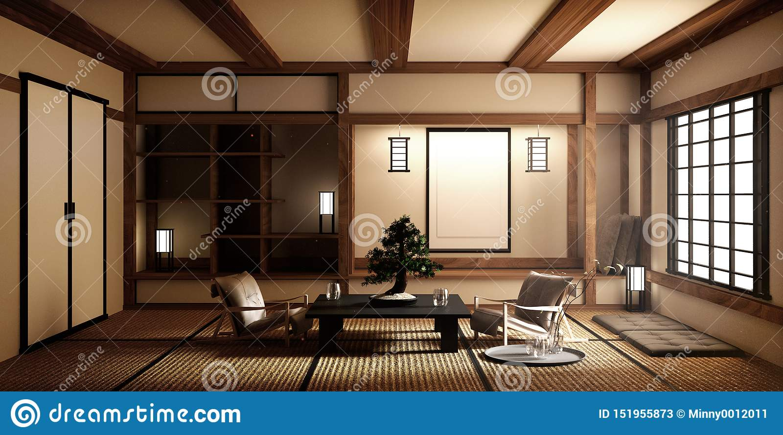 Χλεύη επάνω, ιαπωνικό κενό χαλί tatami δωματίων που σχεδιάζει τον ομορφότερο r