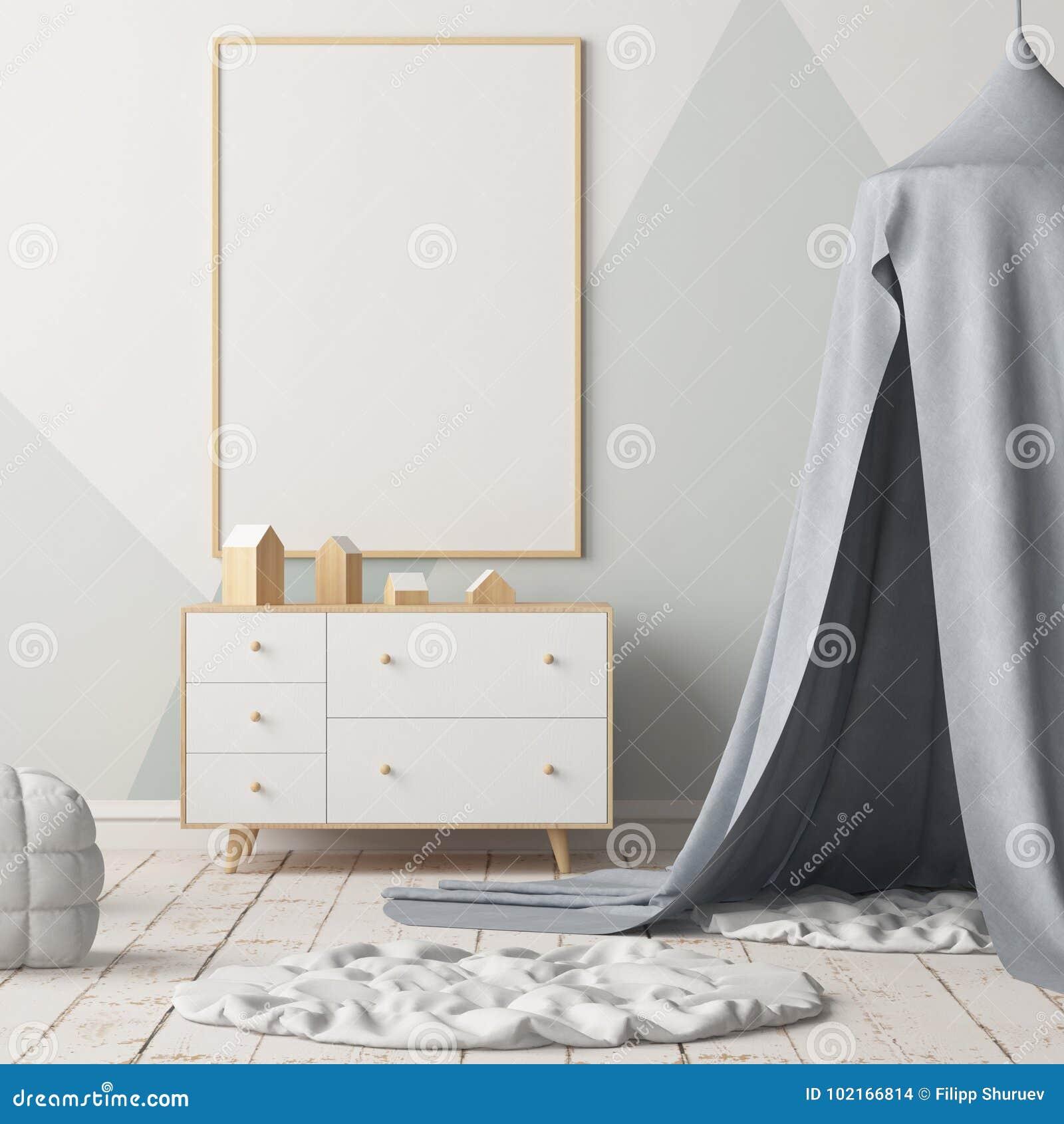 Χλεύη επάνω στην αφίσα στην κρεβατοκάμαρα παιδιών ` s με έναν θόλο Σκανδιναβικό ύφος τρισδιάστατος