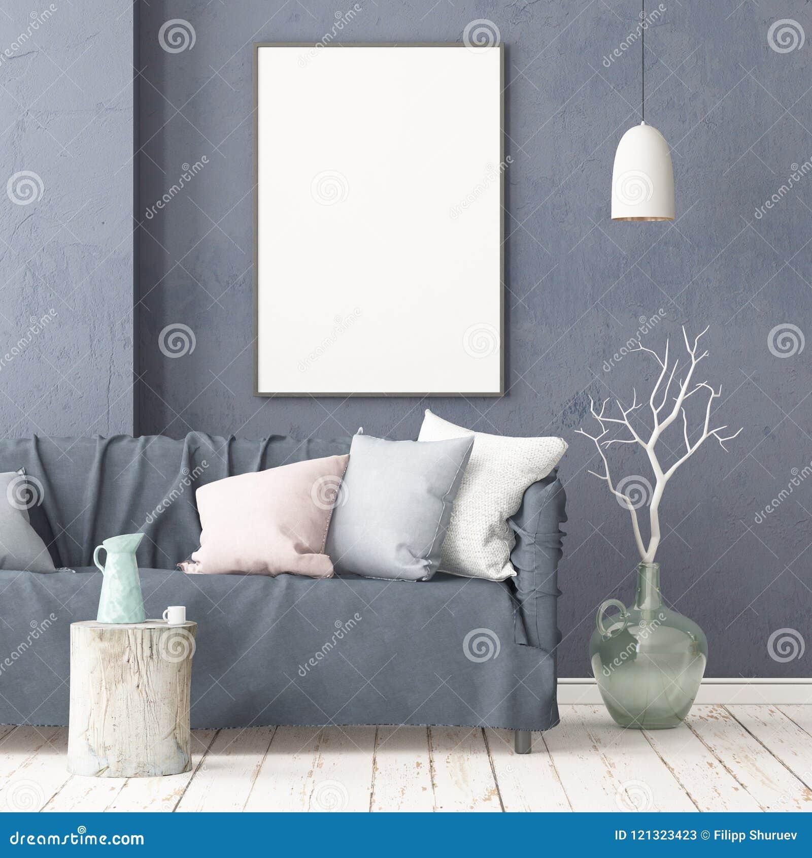Χλεύη επάνω στην αφίσα στο εσωτερικό στο ύφος μιας καθυστέρησης με μια καρέκλα Σκανδιναβικό ύφος τρισδιάστατη απόδοση