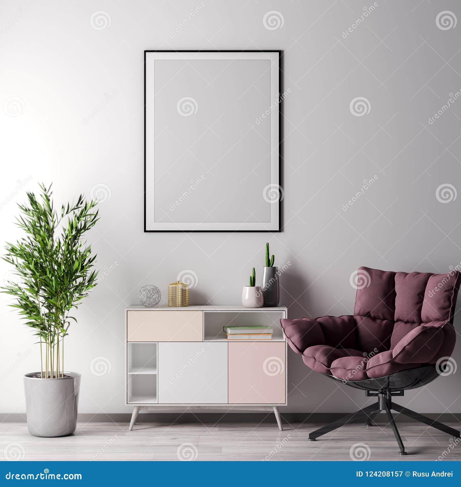Χλεύη επάνω στο πλαίσιο αφισών στο εσωτερικό δωμάτιο με το άσπρο wal, σύγχρονο ύφος, τρισδιάστατη απεικόνιση