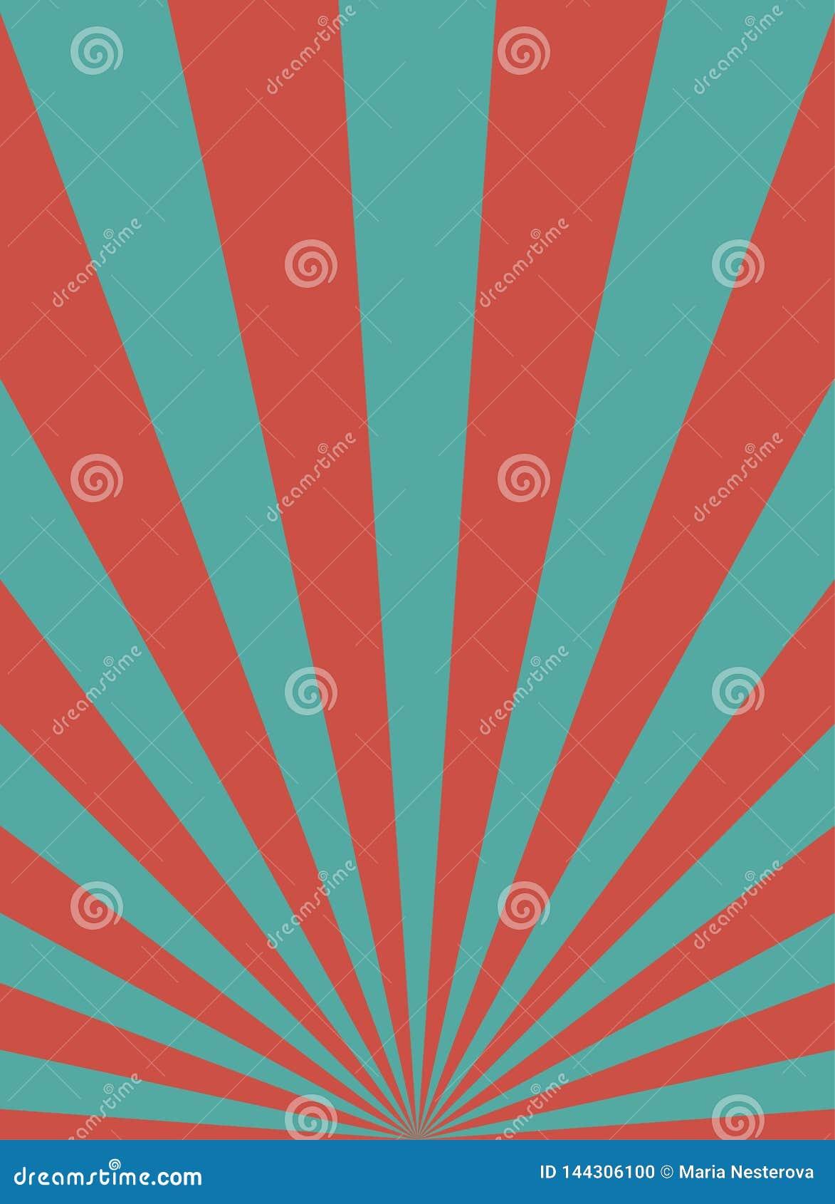 Αναδρομικό στενό κάθετο υπόβαθρο φωτός του ήλιου Χλωμό κόκκινο, μπλε υπόβαθρο έκρηξης χρώματος