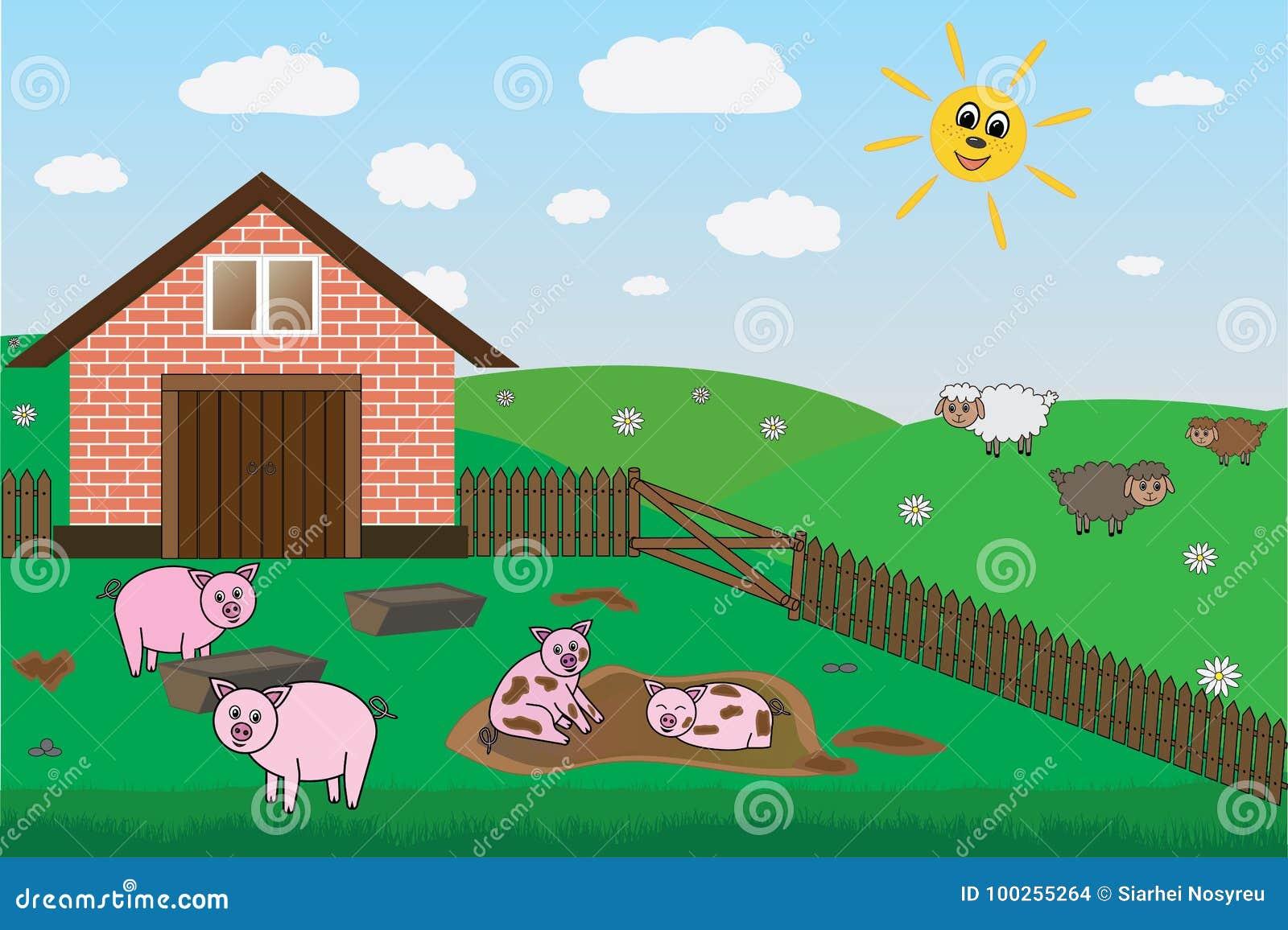 Χοίροι, πρόβατα στο αγρόκτημα, λιβάδι, διάνυσμα