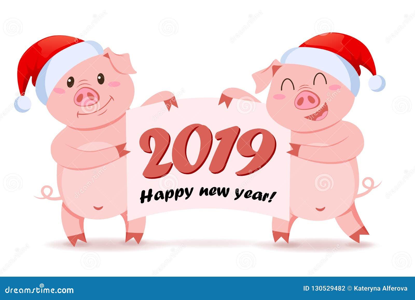 Χοίροι στο έμβλημα εκμετάλλευσης καπέλων Άγιου Βασίλη με τα συγχαρητήρια Σύμβολο του κινεζικού νέου έτους 2019
