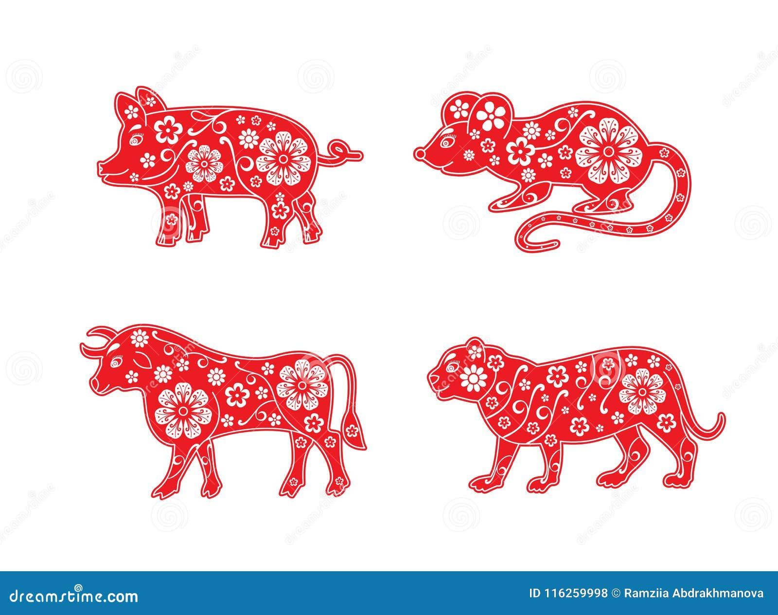 Χοίρος, αρουραίος, ταύρος και τίγρη, ποντίκι, αγελάδα Το κινεζικό ζώο ωροσκοπίων έθεσε 2019, 2020, 2021 και 2022 έτη διακοσμητικό