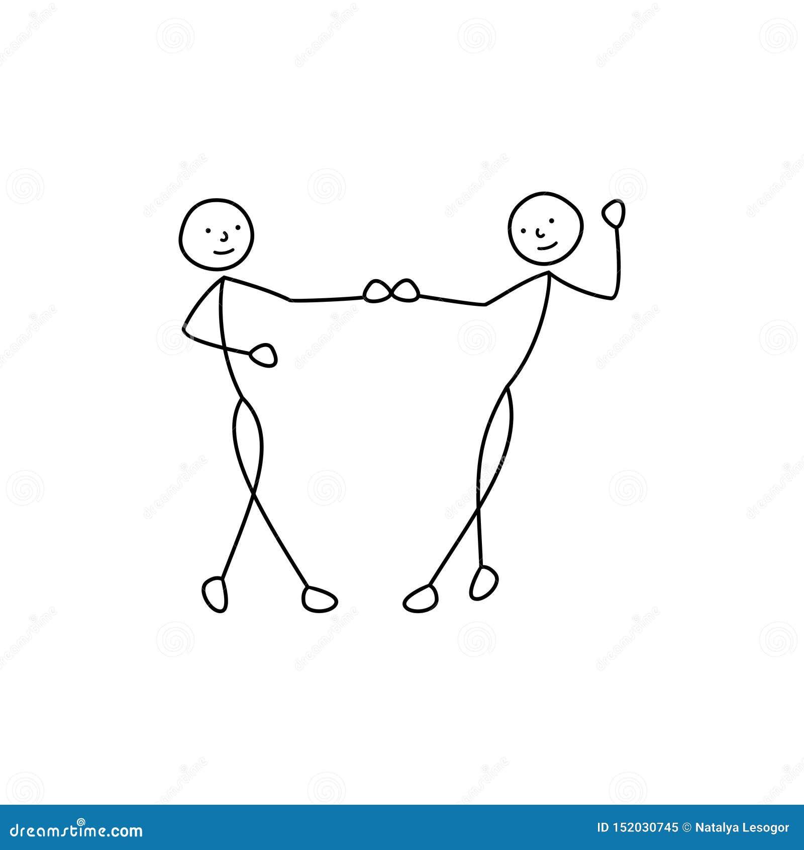 Χορεύοντας σκίτσο ζευγών, εικονίδιο ατόμων αριθμού ραβδιών, χέρια λαβής ανθρώπων