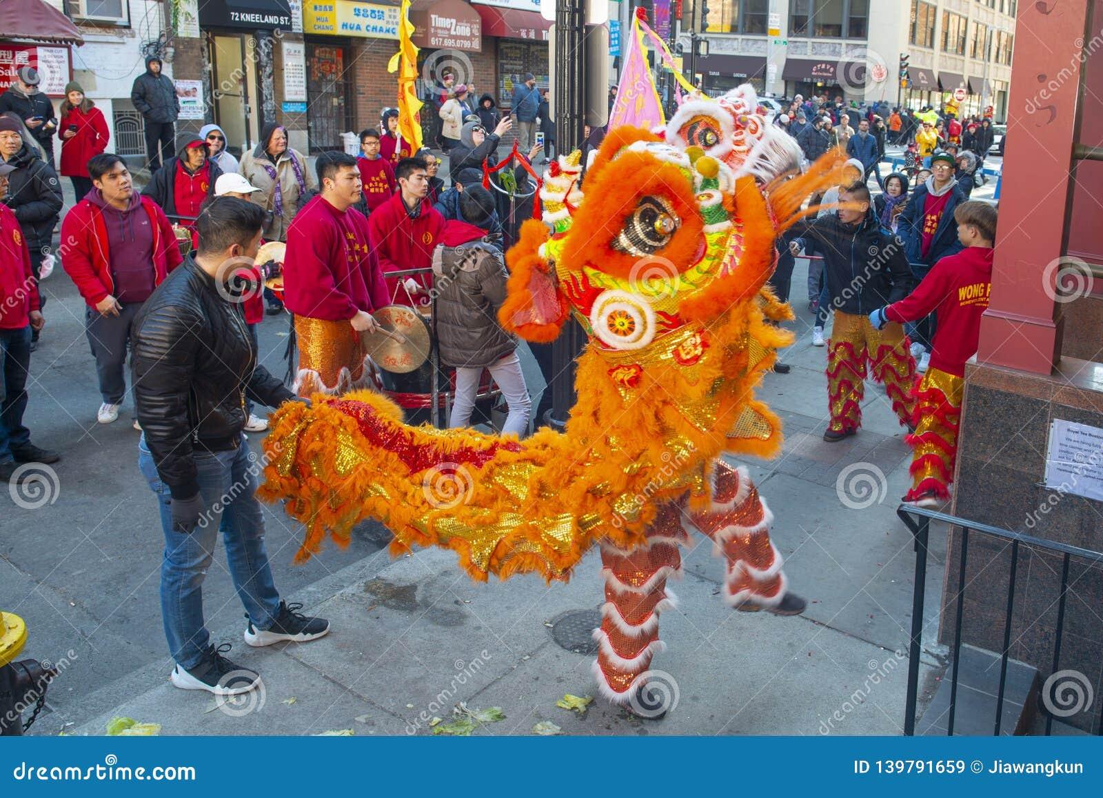 Χορός λιονταριών σε Chinatown Βοστώνη, Μασαχουσέτη, ΗΠΑ
