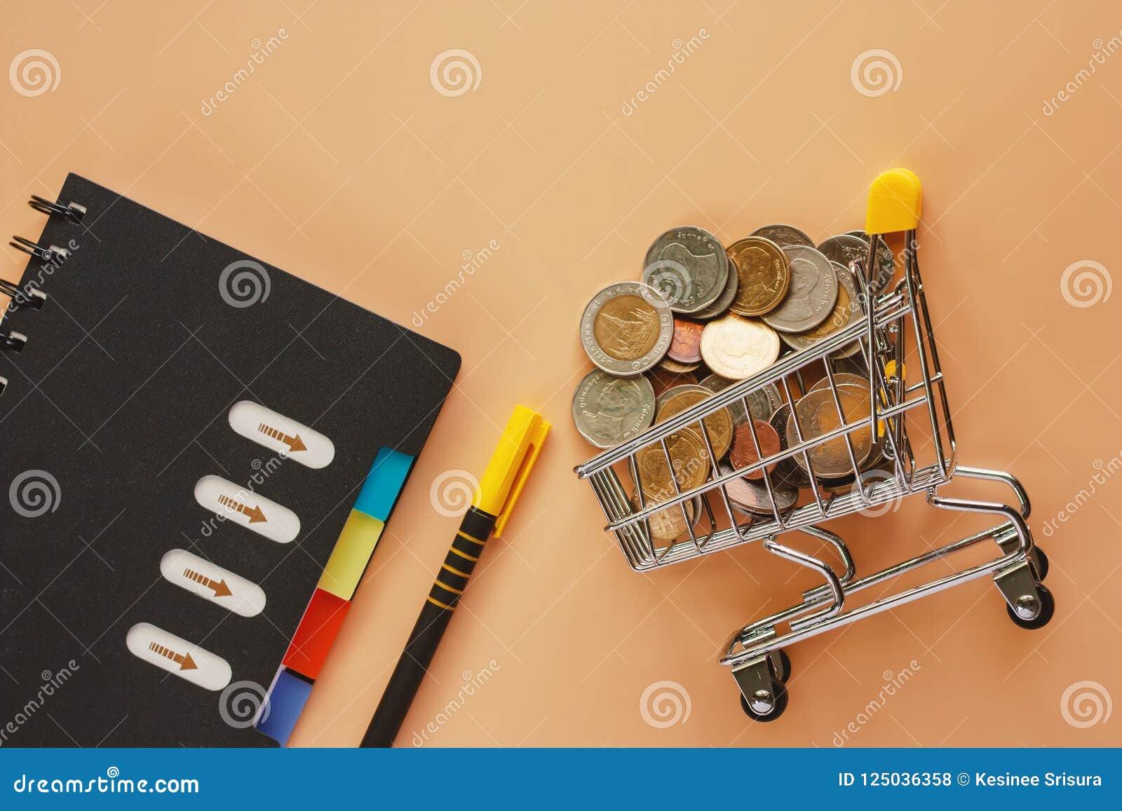 Χρήματα και νομίσματα στο μίνι κάρρο ή το καροτσάκι αγορών με τη σπείρα όχι