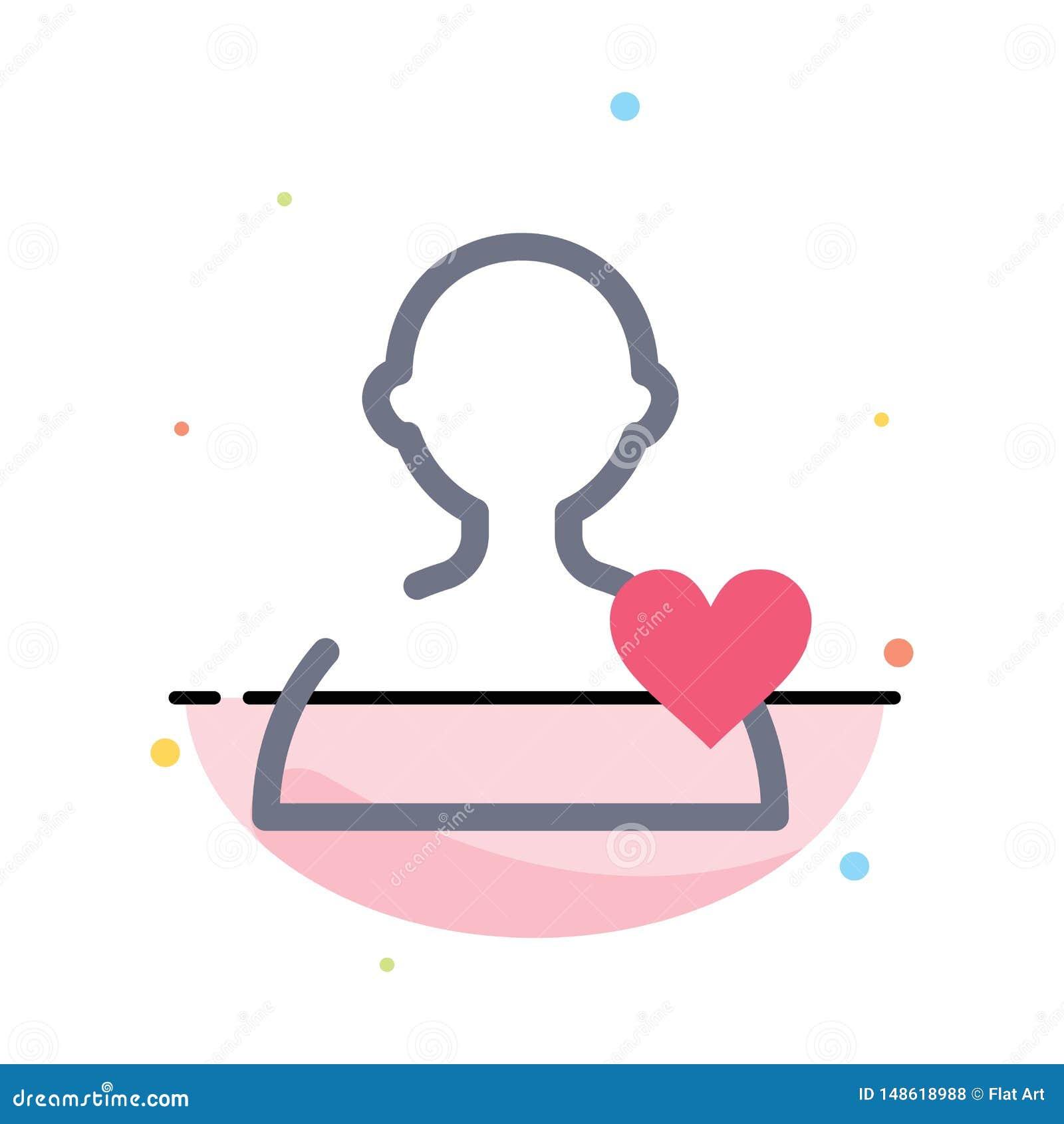 Χρήστης, αγάπη, αφηρημένο επίπεδο πρότυπο εικονιδίων χρώματος καρδιών