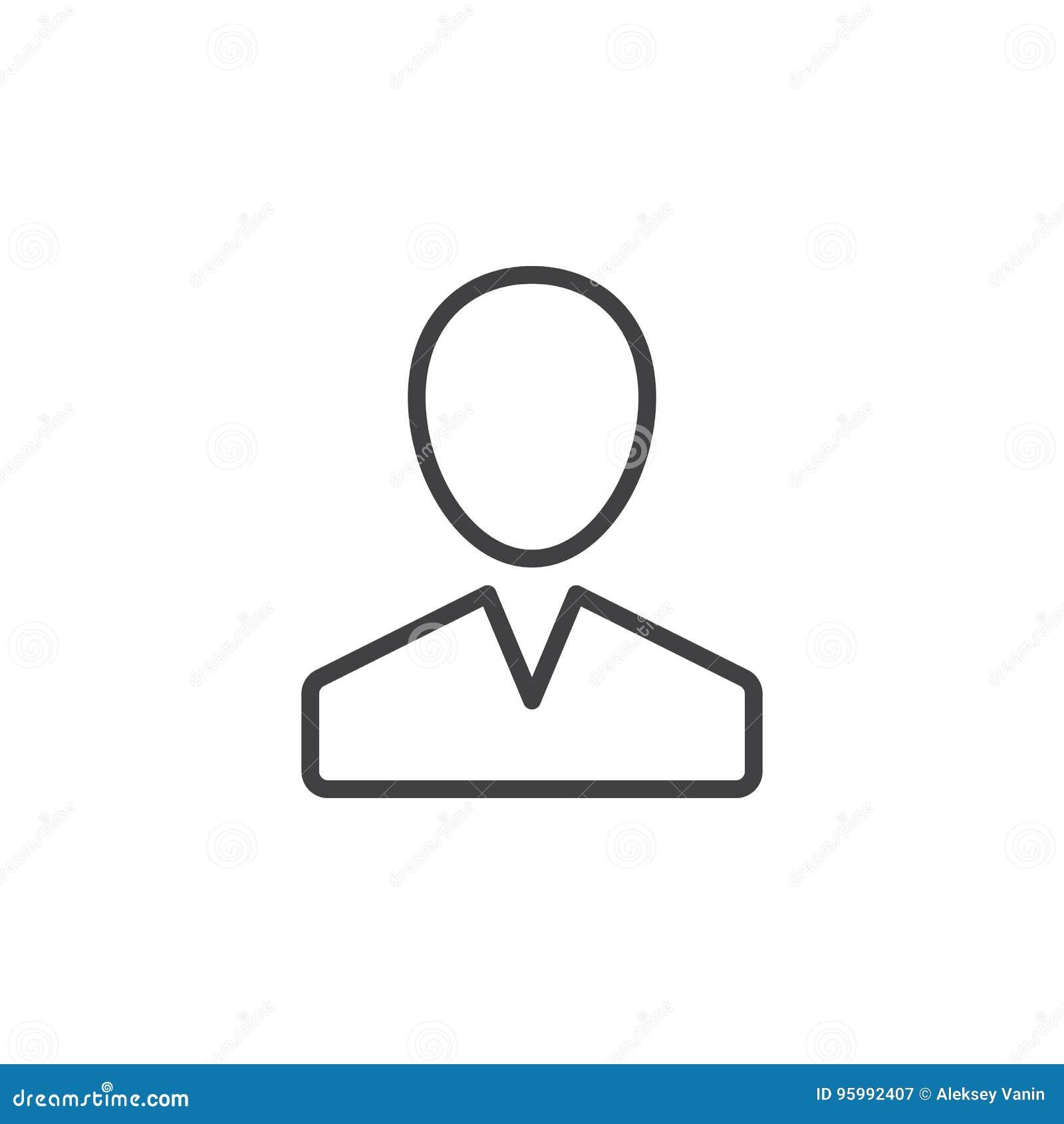 Χρήστης, εικονίδιο γραμμών προσώπων, διανυσματικό σημάδι περιλήψεων, γραμμικό εικονόγραμμα ύφους που απομονώνεται στο λευκό