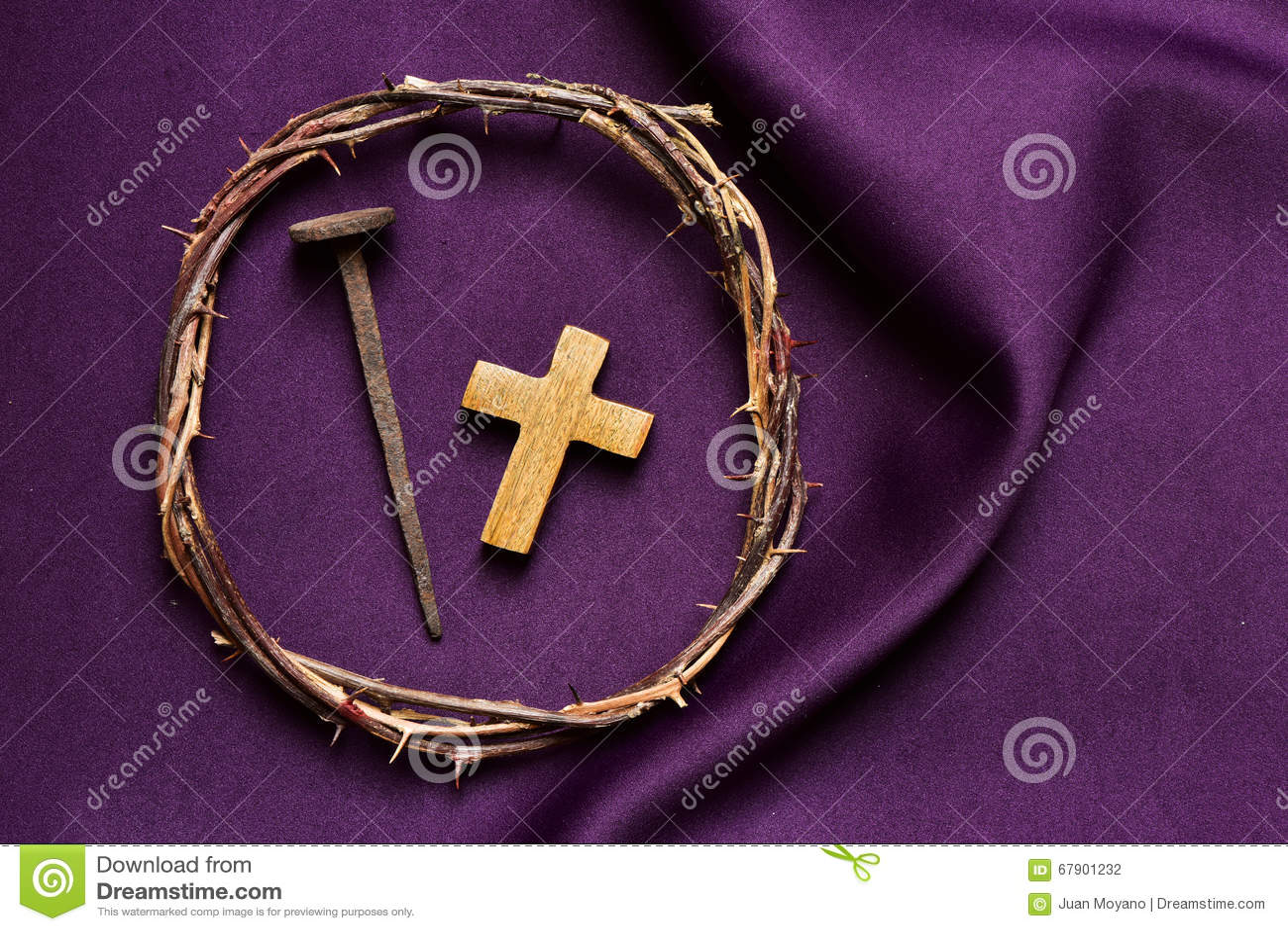 Χριστιανικός σταυρός, καρφί και η κορώνα των αγκαθιών του Ιησούς Χριστού