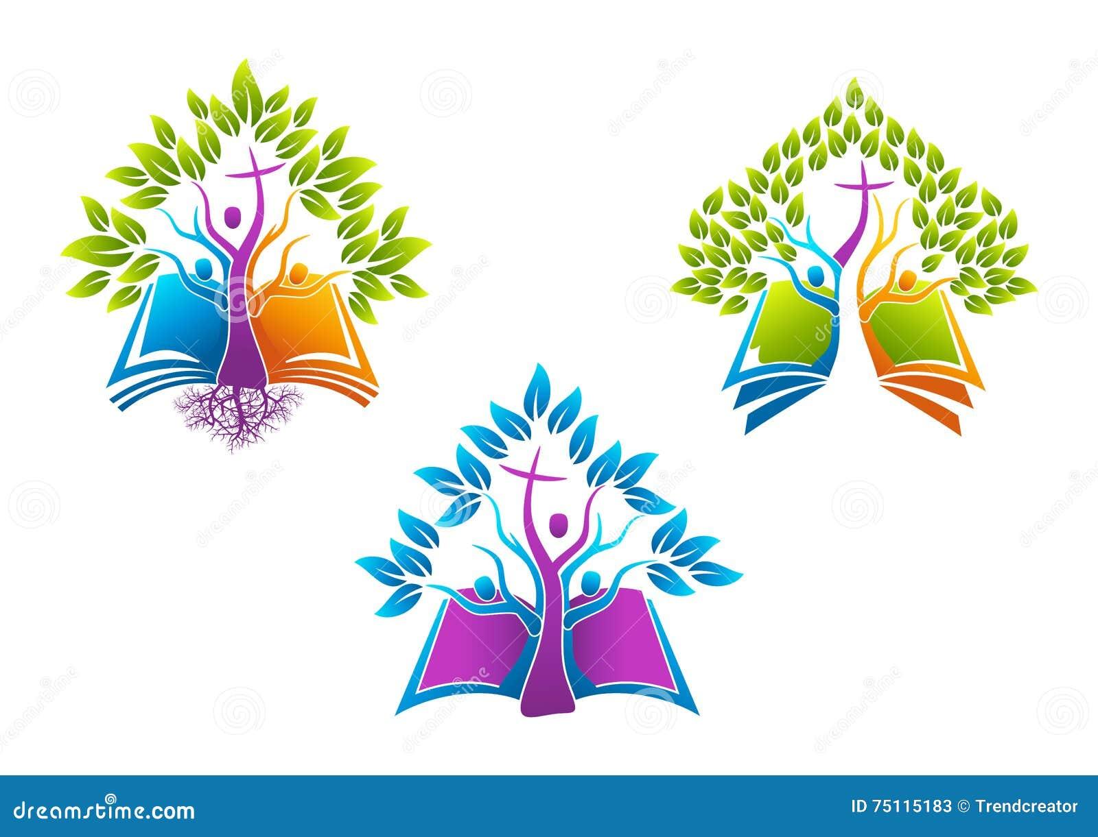Χριστιανικό λογότυπο δέντρων Βίβλων, ιερή οικογένεια πνευμάτων εικονιδίων ρίζας βιβλίων, διανυσματικό σχέδιο συμβόλων εκκλησιών α