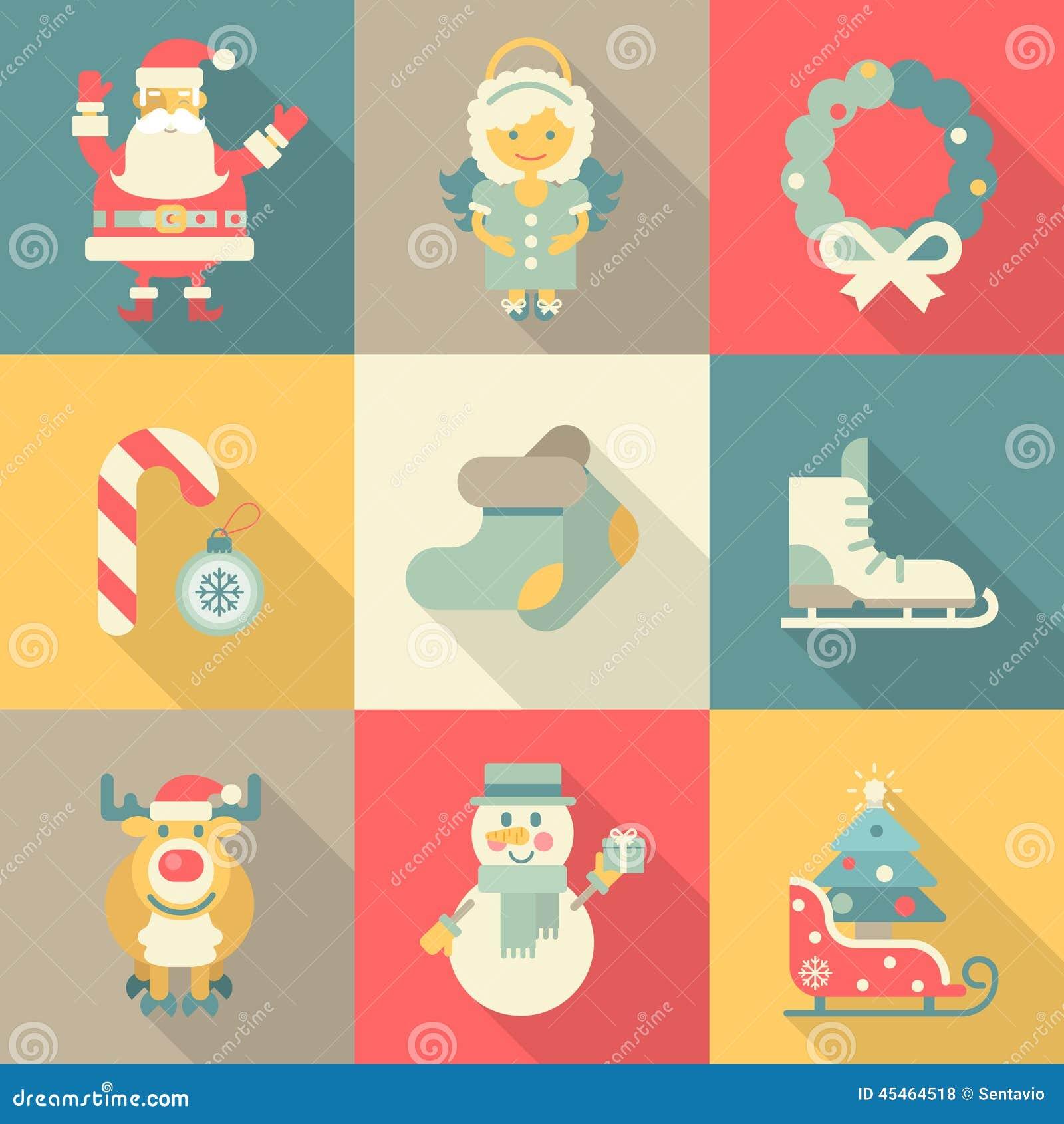 Χριστουγέννων νέος έτους εικονιδίων καθορισμένος επίπεδος ύφους άγγελος Santa κινούμενων σχεδίων αστείος