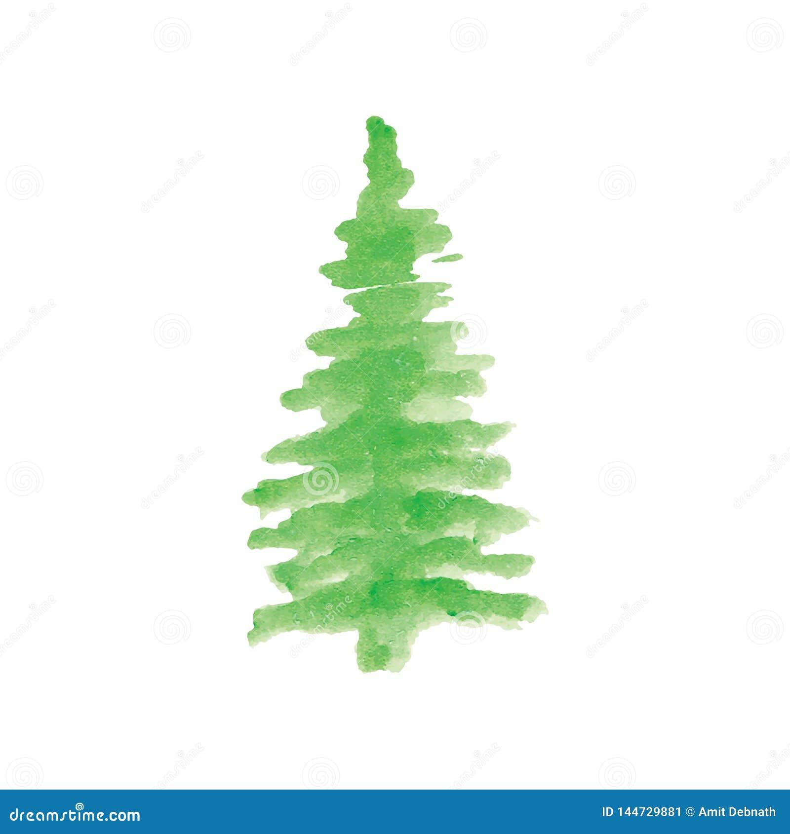 Χριστουγεννιάτικο δέντρο με χρωματισμένο το χέρι διάνυσμα Watercolor
