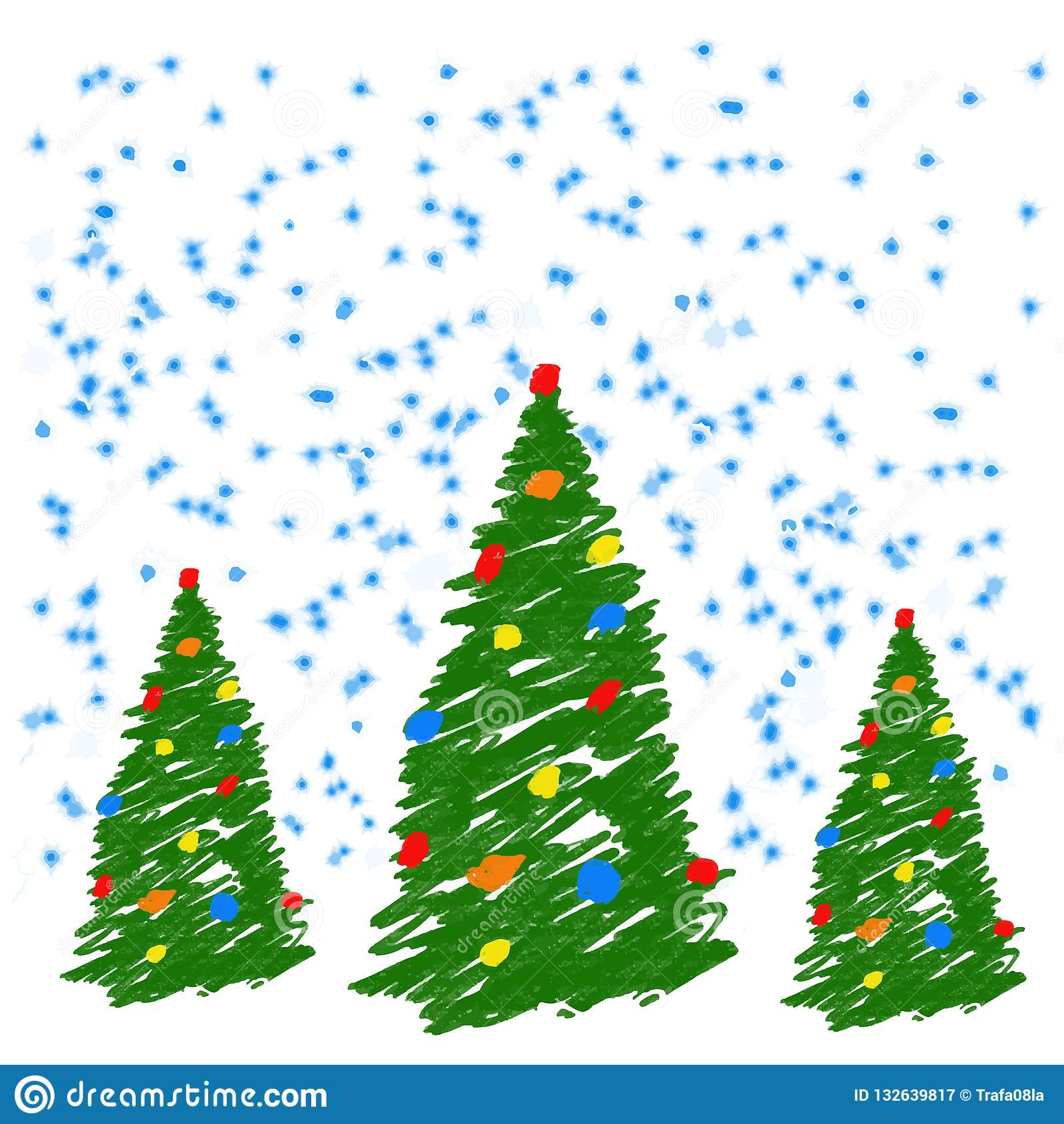 Χριστουγεννιάτικο δέντρο σχεδίων χεριών με τις σφαίρες Όπως το κραγιόνι σχεδίων του παιδιού ή βεραμάν fir-tree μολυβιών Όπως τα π