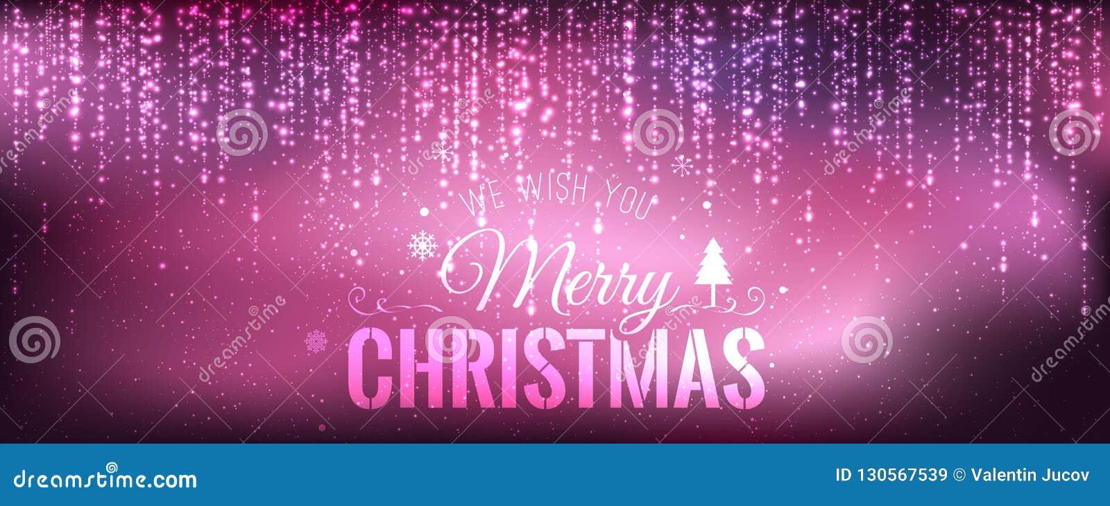 Χριστούγεννα και νέο έτος τυπογραφικά στο πορφυρό υπόβαθρο με την ανάφλεξη, φως, αστέρια