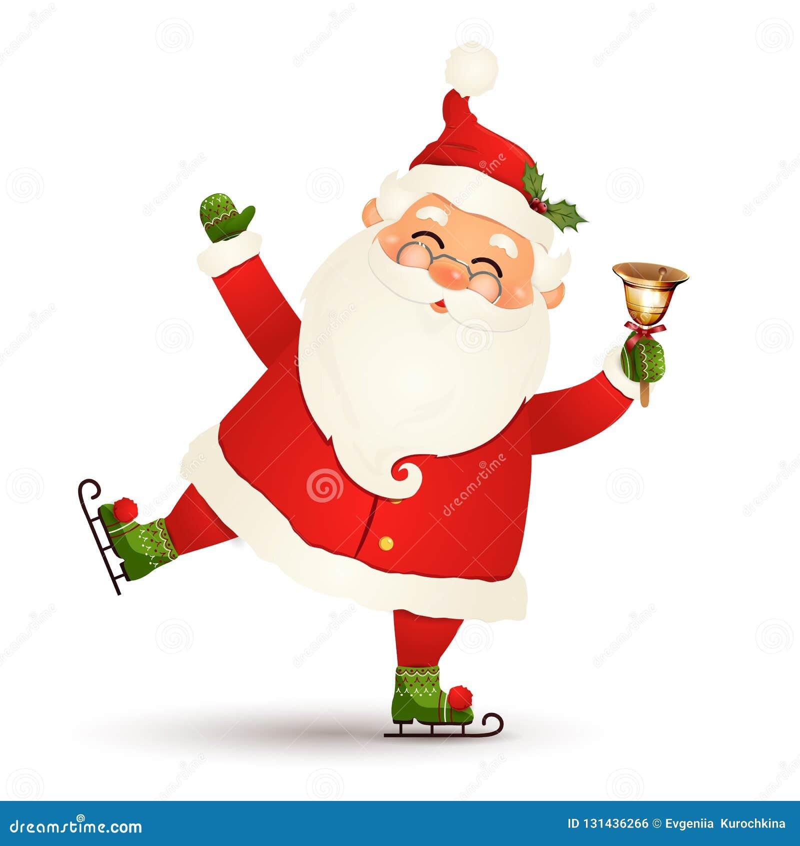 Χριστούγεννα, χαριτωμένος, αστείος πάγος Άγιου Βασίλη που κάνουν πατινάζ με τα χρυσά κάλαντα που απομονώνονται στο άσπρο υπόβαθρο