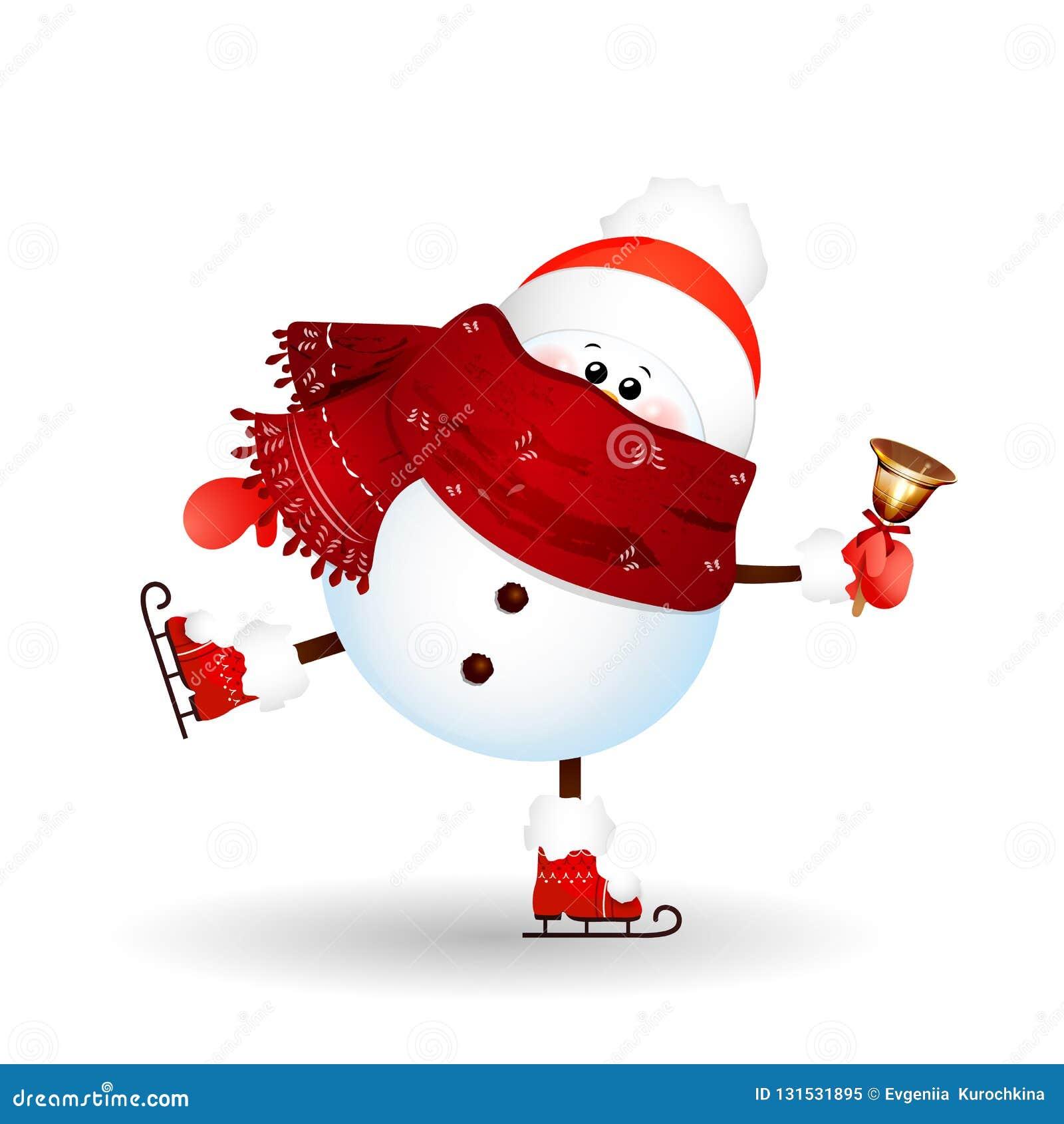 Χριστούγεννα, χαριτωμένος, αστείος πάγος χιονανθρώπων που κάνουν πατινάζ με τα χρυσά κάλαντα που απομονώνονται στο άσπρο υπόβαθρο
