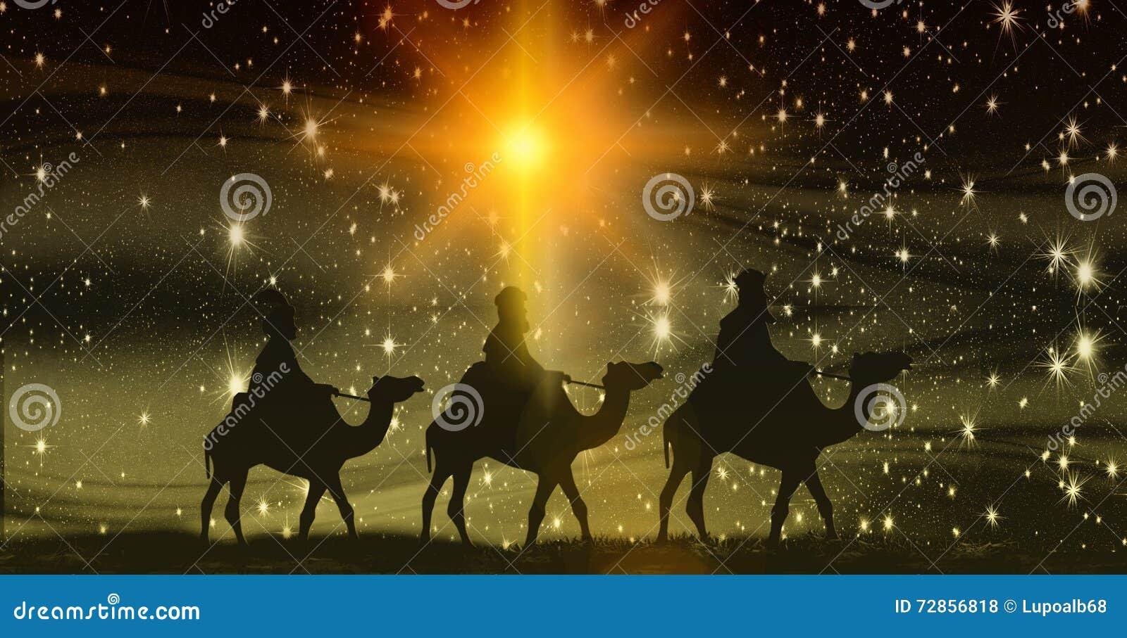 Χριστούγεννα, Epiphany, τρεις βασιλιάδες στις καμήλες, υπόβαθρο με τα αστέρια