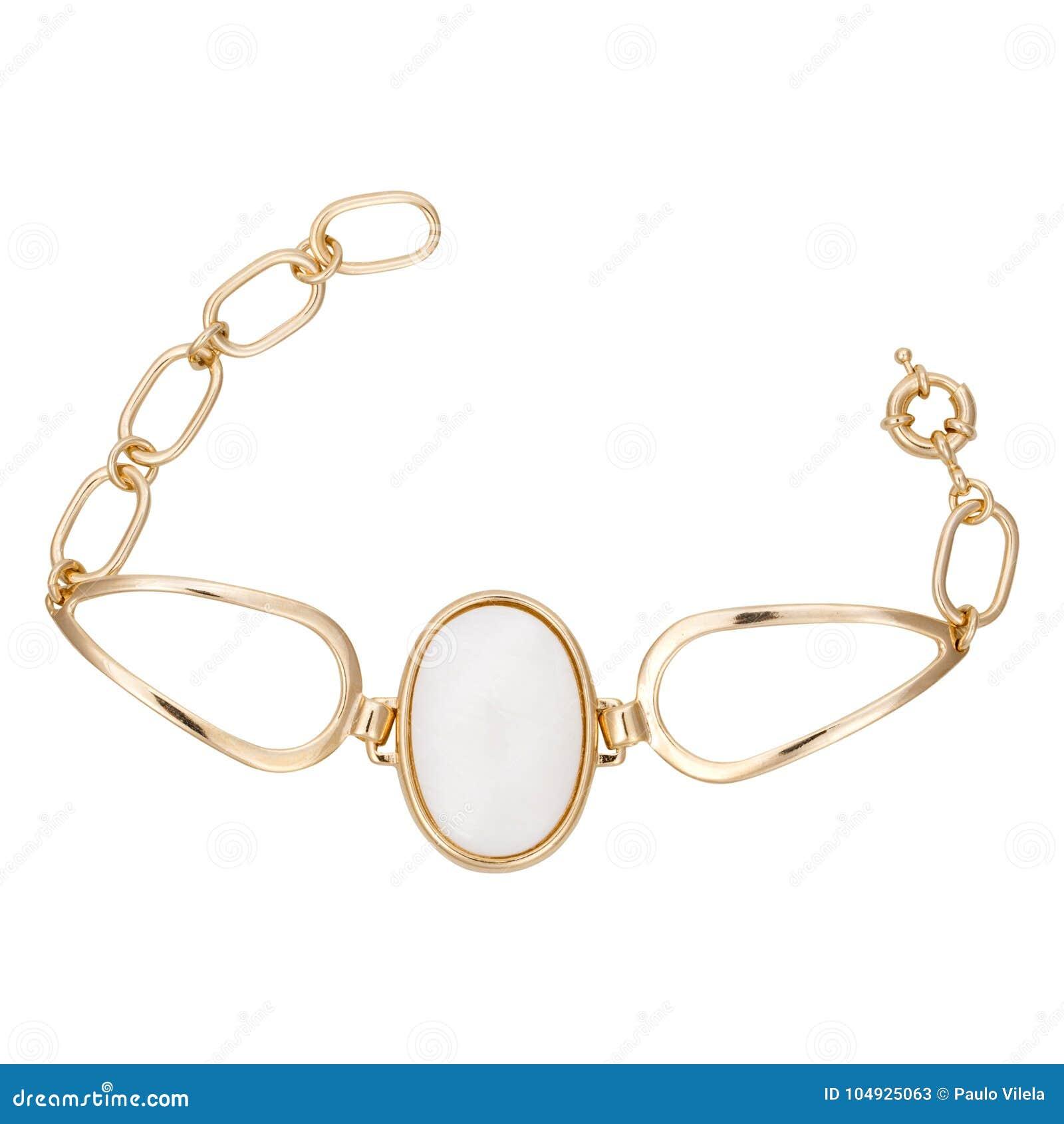 Χρυσά βραχιόλια με τον πολύτιμο λίθο που απομονώνεται στο άσπρο υπόβαθρο 453684b6ae2