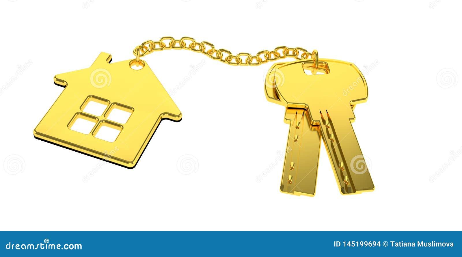 Χρυσά κλειδιά σπιτιών με το χρυσό σπίτι κοσμημάτων μικρής αξίας που απομονώνονται στο άσπρο υπόβαθρο νέα εγχώρια έννοια Ακίνητη π