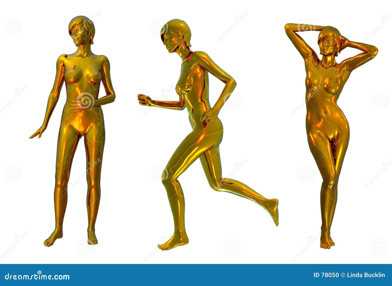 χρυσά μεταλλικά nudes τρία
