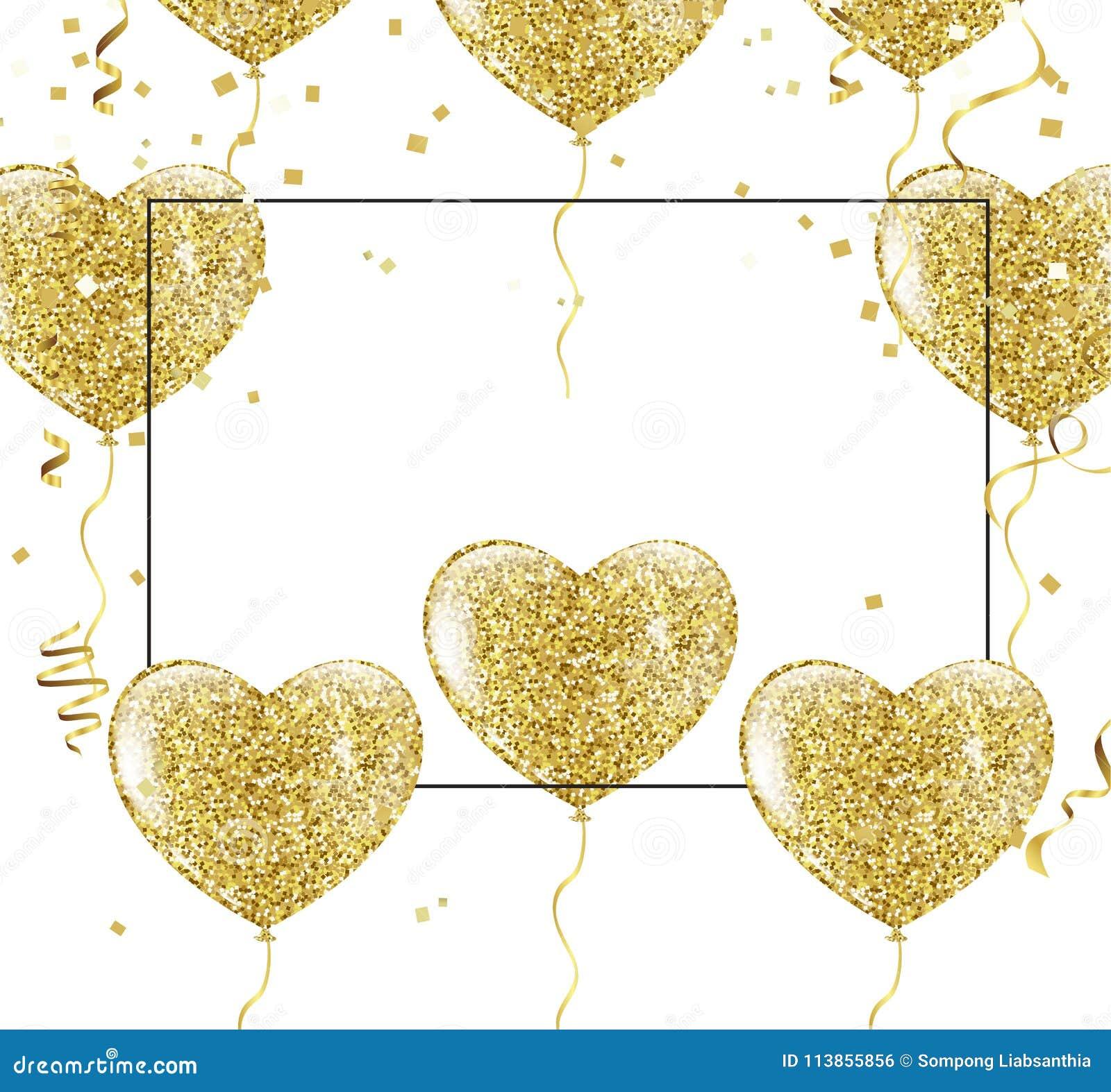 Χρυσά μπαλόνια με μορφή μιας καρδιάς σε ένα υπόβαθρο το shap