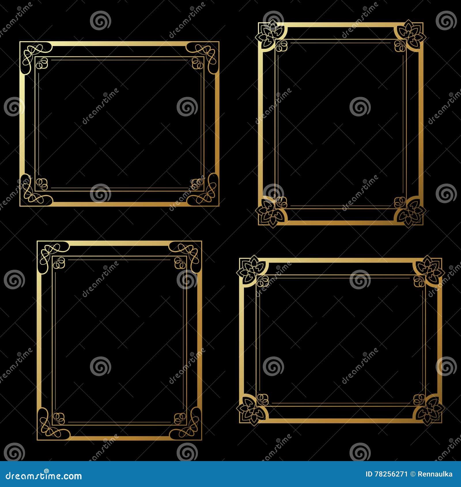 Χρυσά πλαίσια στο μαύρο υπόβαθρο Πλαίσια ορθογωνίων διακοσμήσεων για τη φωτογραφία σας σύνορα διακοσμητικά
